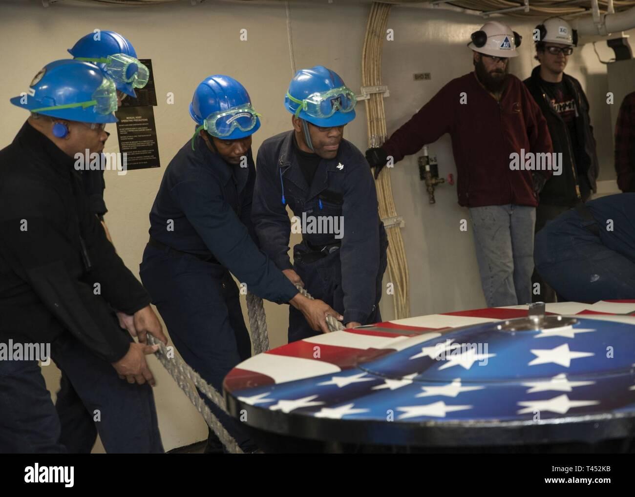 NEWPORT NEWS, Va  (Feb  27, 2019) Sailors assigned to USS