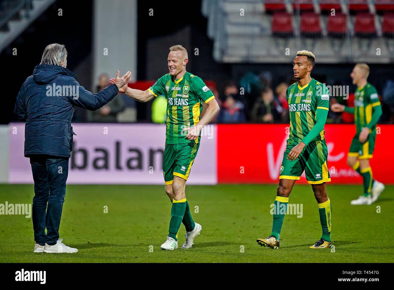 Alkmaar Az Ado Den Haag 13 04 2019 Football Dutch Eredivisie Season 2018 2019 Afas Stadium Ado Player Tom Beugelsdijk C Celebrating The Win After The Game Az Ado 2 3 Stock Photo Alamy