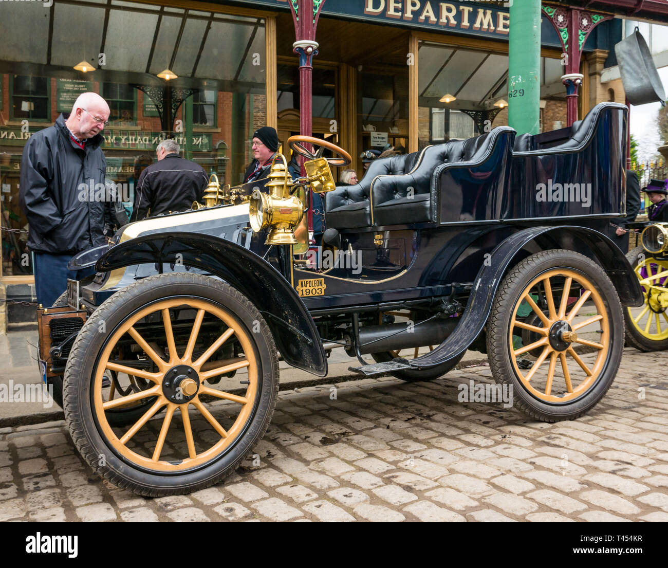 Beamish Museum, Beamish, Durham County, England, United Kingdom, 13 April 2019. Beamish Steam Day: Vintage 1903 De Dion Bouton Napoleon on display at Beamish Living Museum - Stock Image