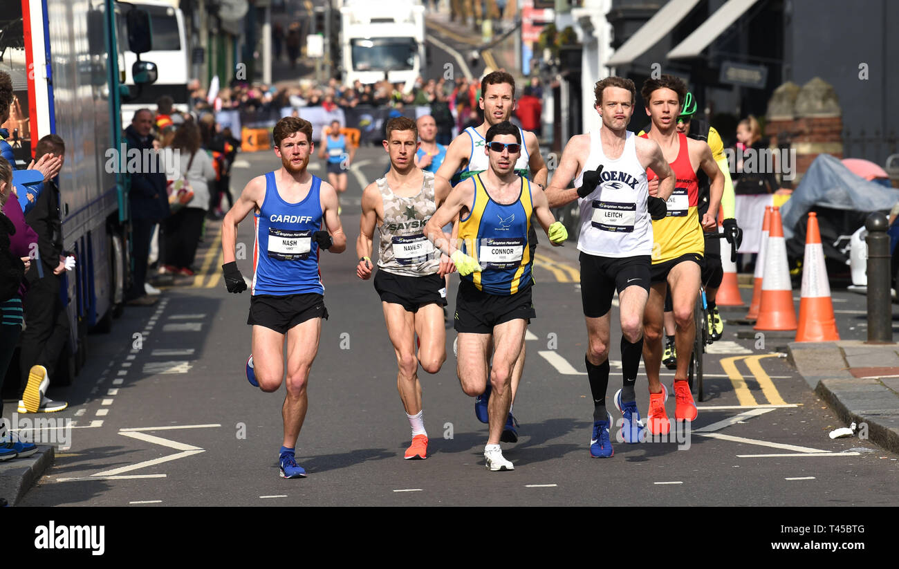 Brighton, Sussex, UK. 14th Apr, 2019. The early leaders in this years Brighton Marathon which is celebrating its 10th anniversary Credit: Simon Dack/Alamy Live News Stock Photo