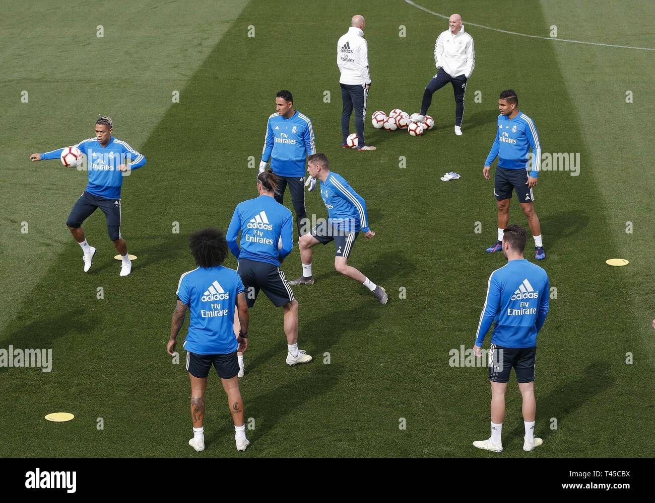 Madrid, Spain. 14th Apr, 2019. Real Madrid trains at Valdebebas sport complex, in Madrid, Spain, 14 April 2019. The team prepares its LaLiga game against Leganes on 15 April. Credit: Paco Campos/EFE/Alamy Live News Stock Photo