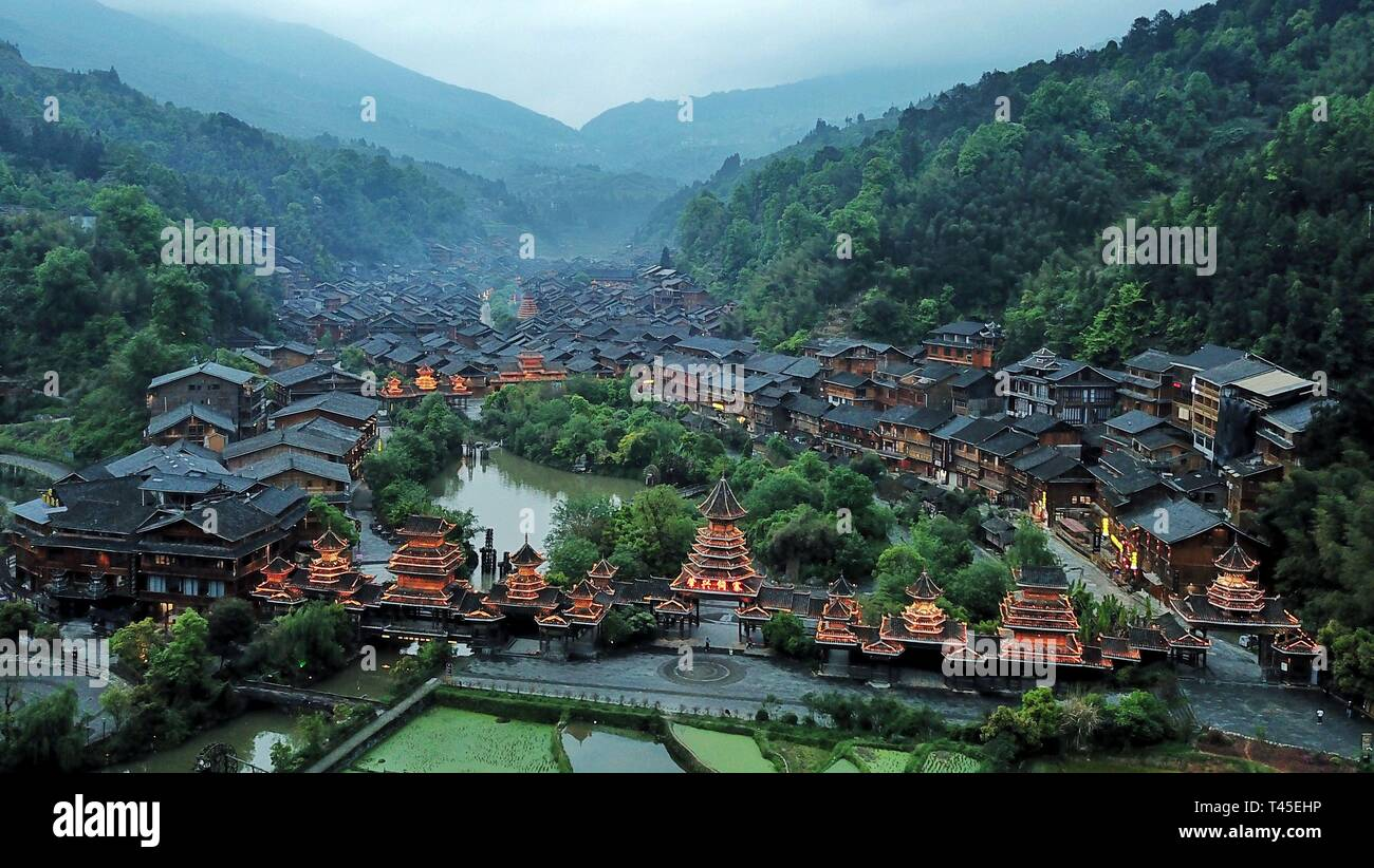 Liping, China. 14th Apr, 2019. Aerial photo taken on April 14, 2019 shows the Dong village of Zhaoxing, Liping County, southwest China's Guizhou Province. Credit: Ou Dongqu/Xinhua/Alamy Live News Stock Photo