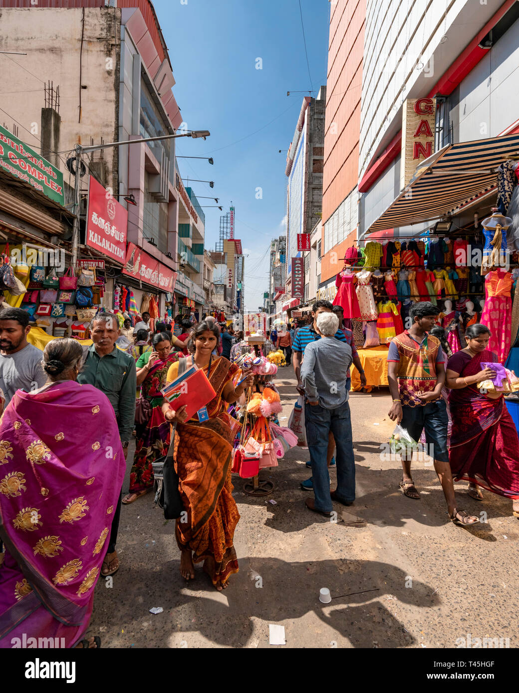 Vertical streetview of a busy shopping precinct in Chennai, India. Stock Photo