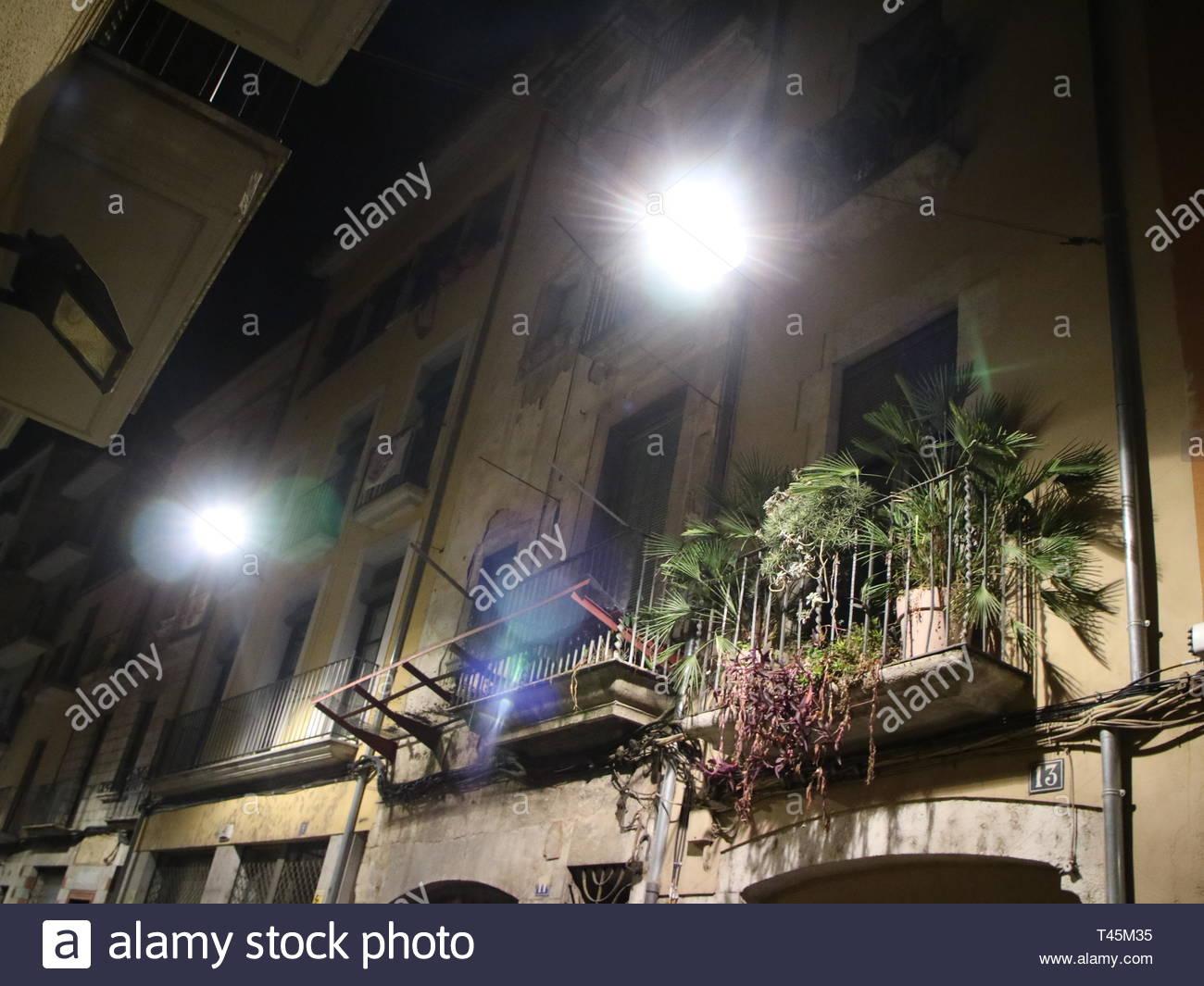 Balcony Garden at Night in Girona Spain - Stock Image