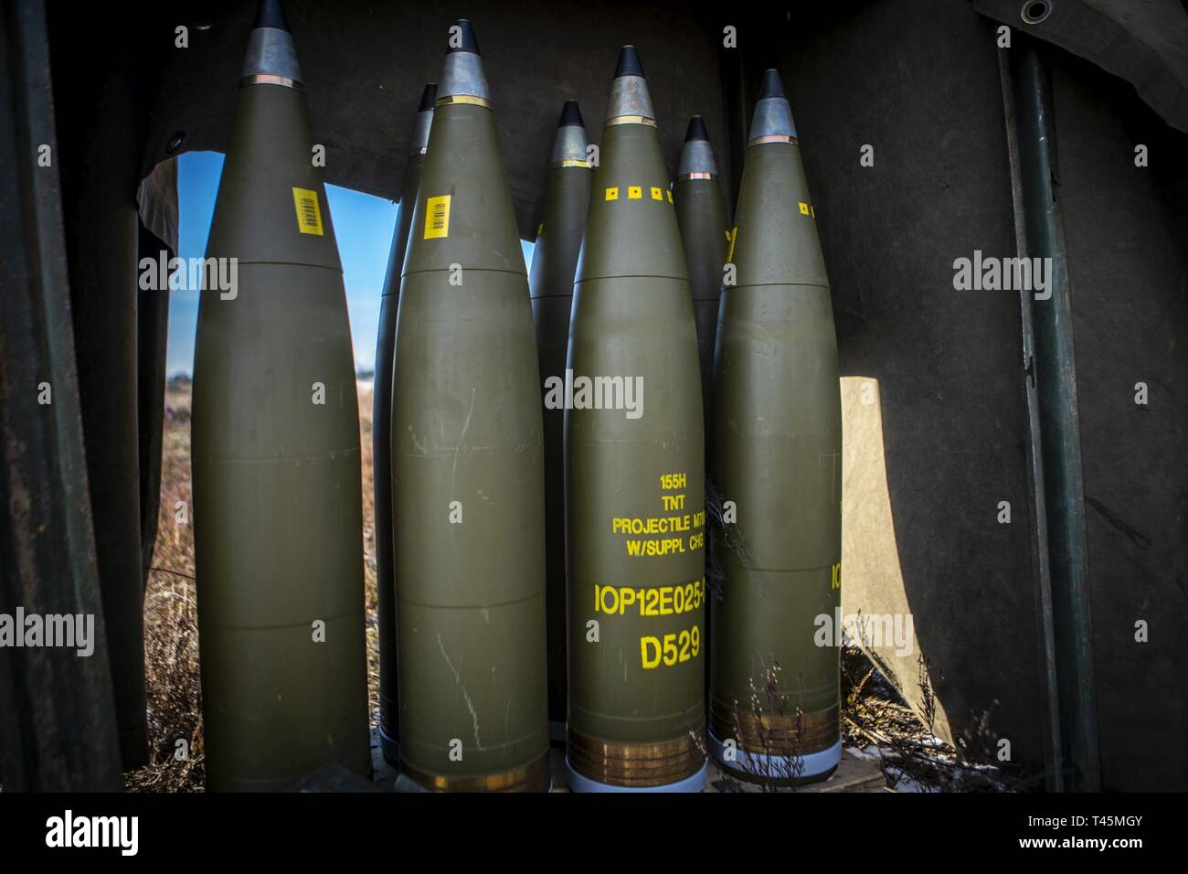 Artillery Projectiles Stock Photos & Artillery Projectiles Stock