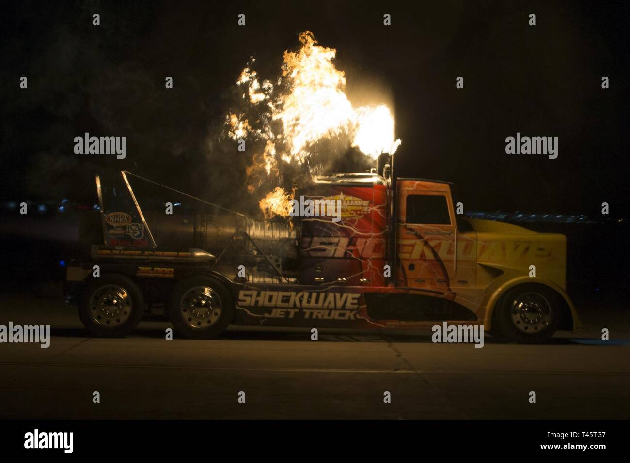 Chris Darnell, driver of the Shockwave Jet Truck, drives