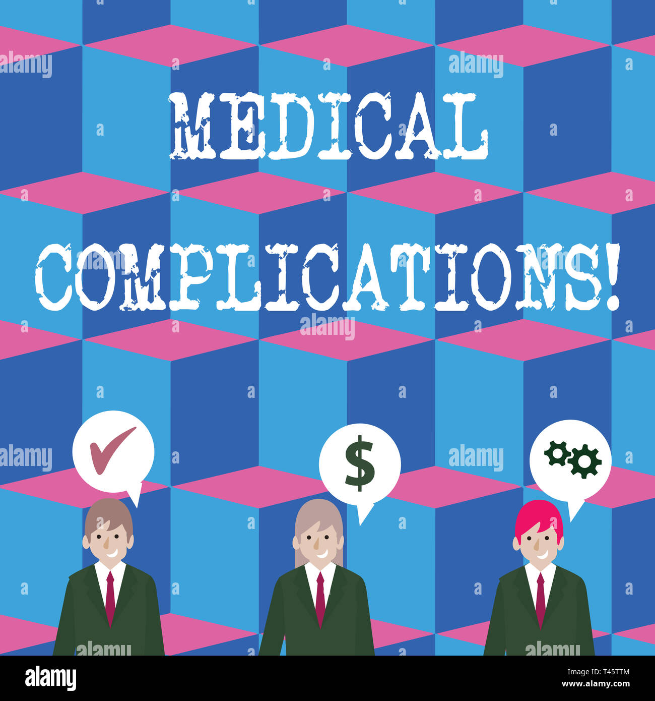 Writing note showing Medical Complications. Business concept for unfavorable evolution or consequence of a disease Businessmen has Speech Bubble with  - Stock Image