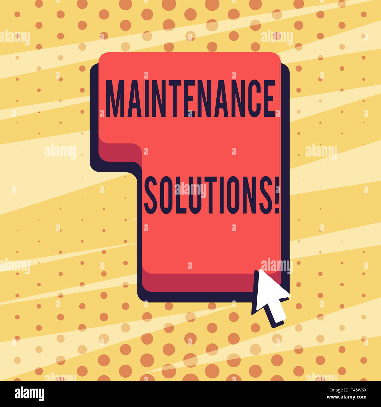 Handwriting text Maintenance Solutions. Conceptual photo service provided to keep a product in good condition Direction to Press or Click the Red Keyb - Stock Image