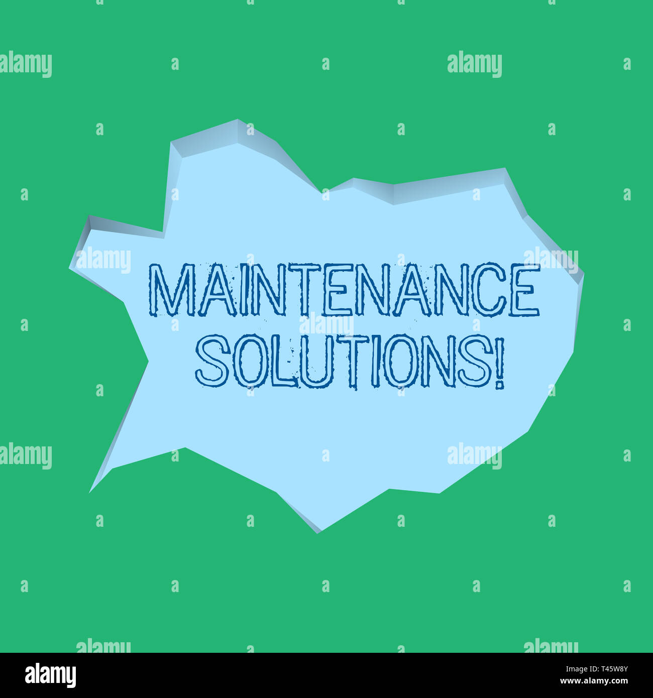 Word writing text Maintenance Solutions. Business photo showcasing service provided to keep a product in good condition Blank Pale Blue Speech Bubble  - Stock Image