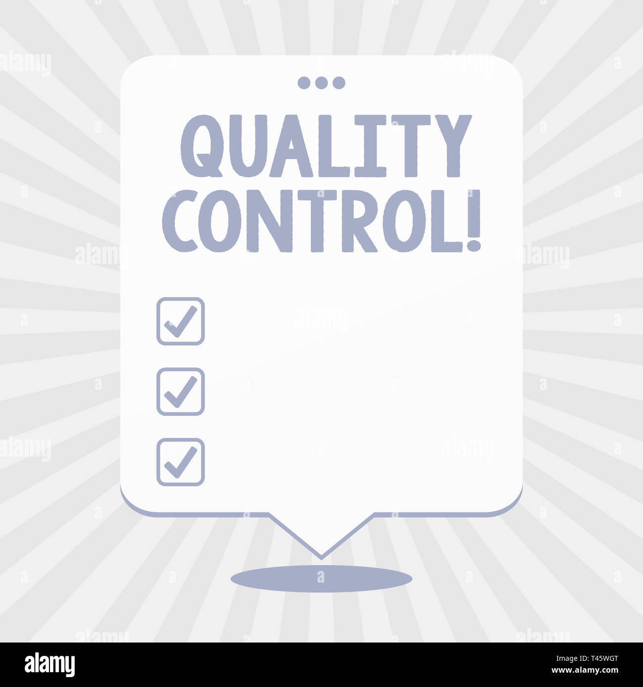 Word writing text Quality Control  Business photo showcasing