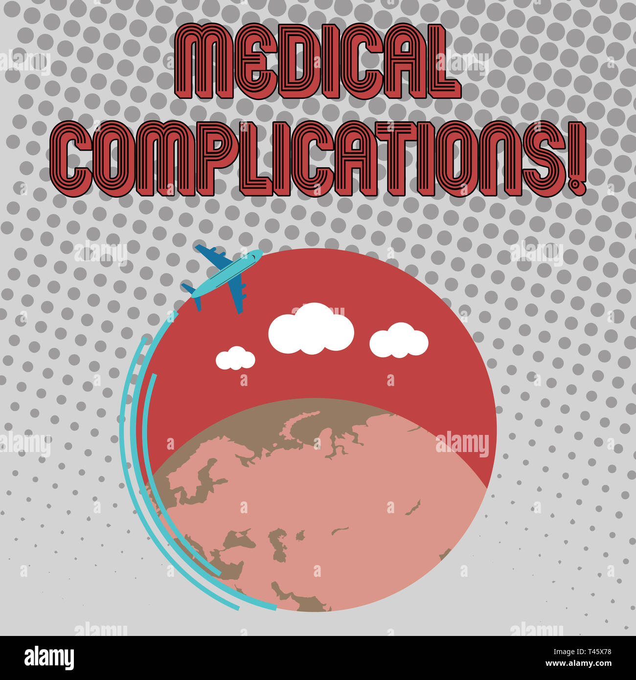Handwriting text Medical Complications. Conceptual photo unfavorable evolution or consequence of a disease Airplane with Moving Icon Flying Around Col - Stock Image