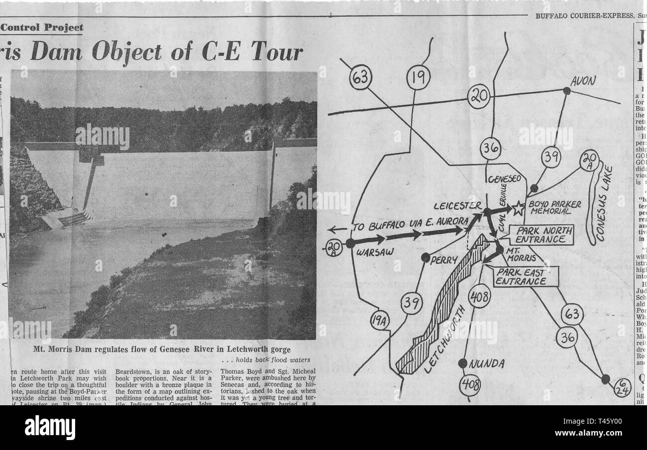 "Buffalo Courier-Express, Sunday August 11, 1963: ""Mt. Morris Dam Object of C-E Tour"" by Bill LaMale.     Miles J. Freeman was the Mount Morris Dam's Chief Operator from its construction in 1952 until his retirement in 1980. Without his decades of expertise and care, the destructive power of Mother Nature would have wreaked havoc on the lives of countless Genesee Valley residents. Stock Photo"