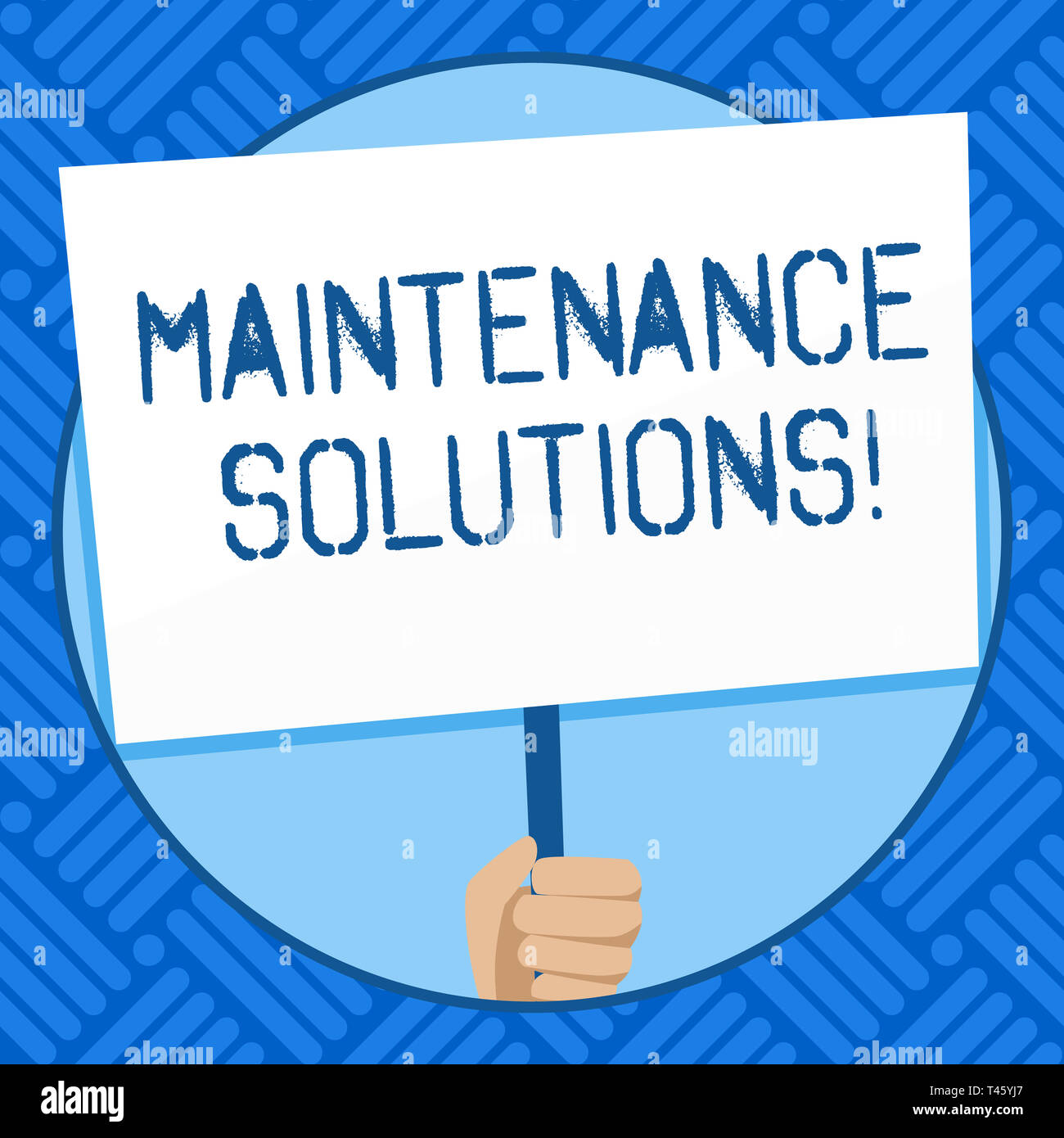 Text sign showing Maintenance Solutions. Business photo text service provided to keep a product in good condition Hand Holding Blank White Placard Sup - Stock Image