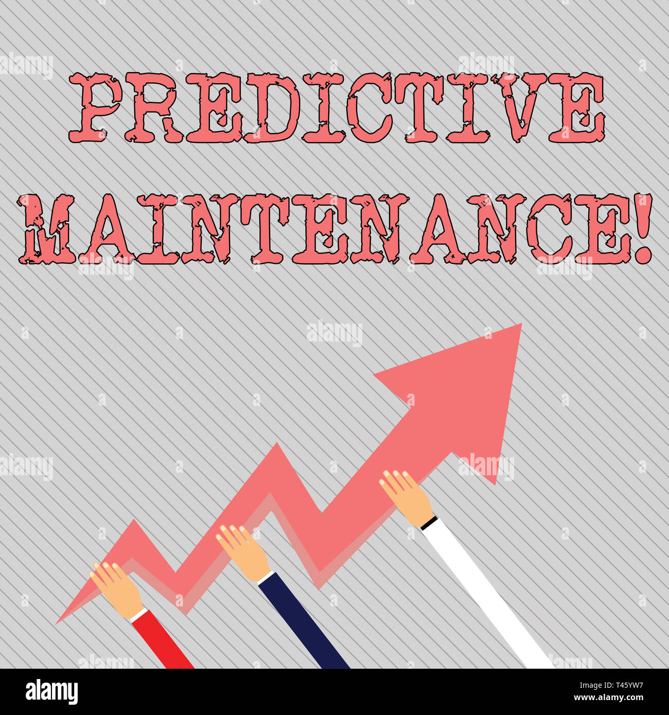 e584111a2ca1c Text sign showing Predictive Maintenance. Business photo text maintenance  strategy driven by predictive analytics Three Hands Holding Colorful Zigzag