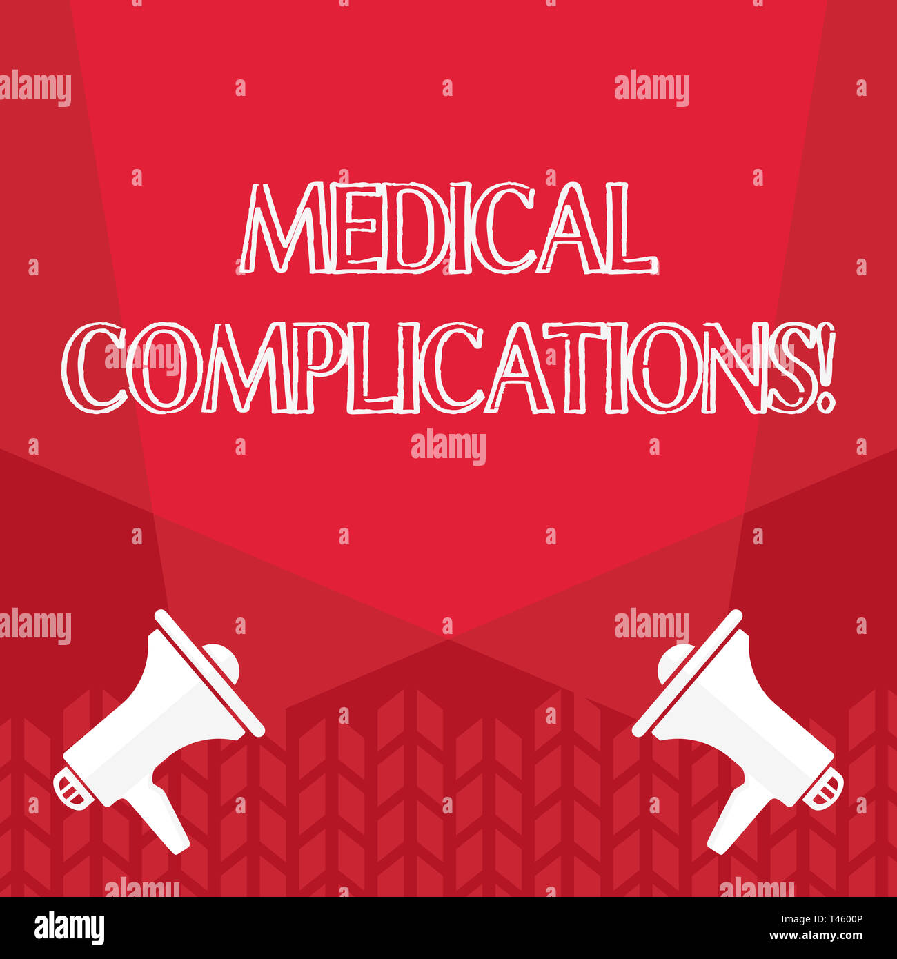 Word writing text Medical Complications. Business photo showcasing unfavorable evolution or consequence of a disease Blank Double Spotlight Crisscross - Stock Image
