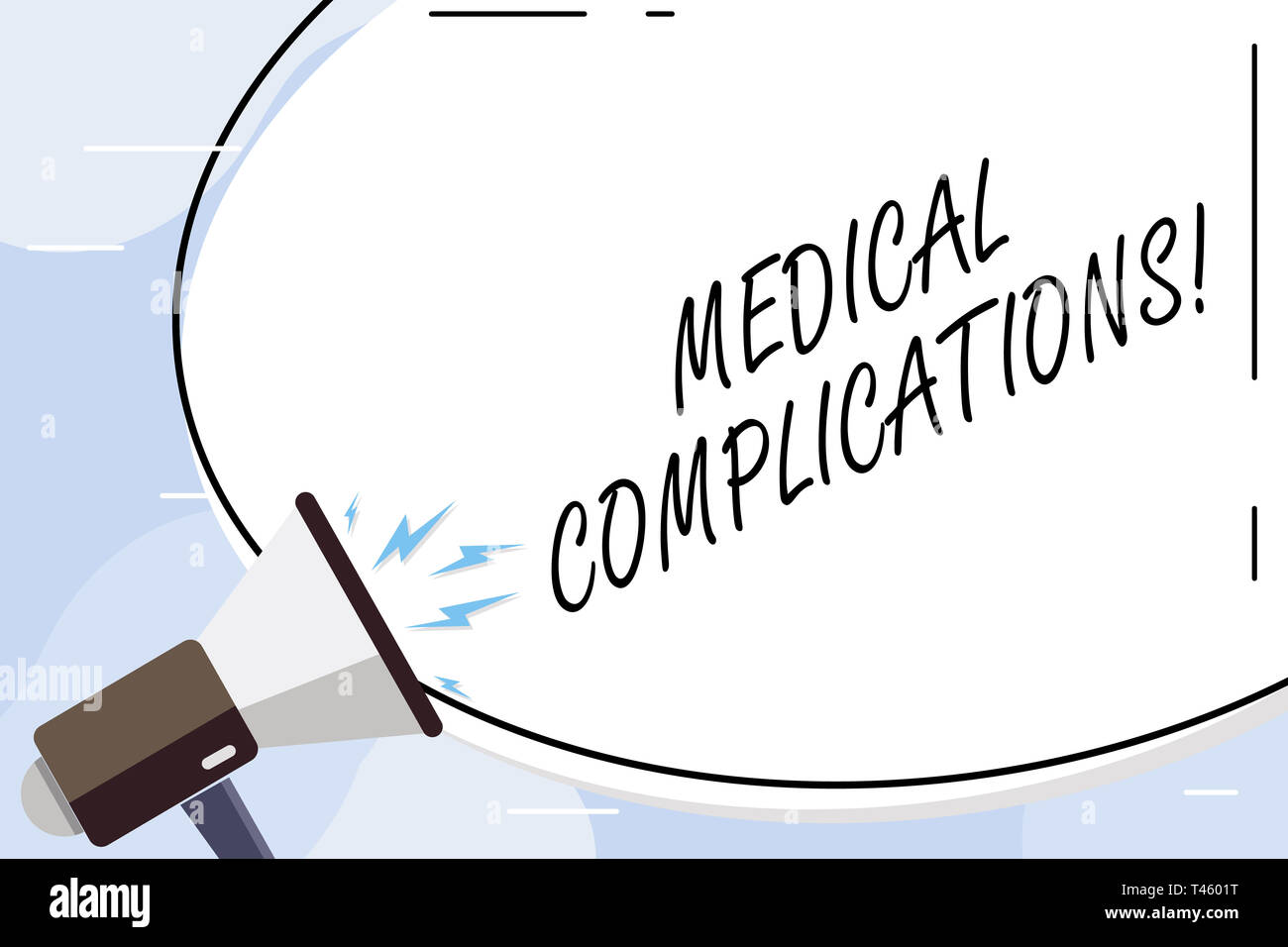 Conceptual hand writing showing Medical Complications. Concept meaning unfavorable evolution or consequence of a disease Blank White Huge Oval Shape S - Stock Image