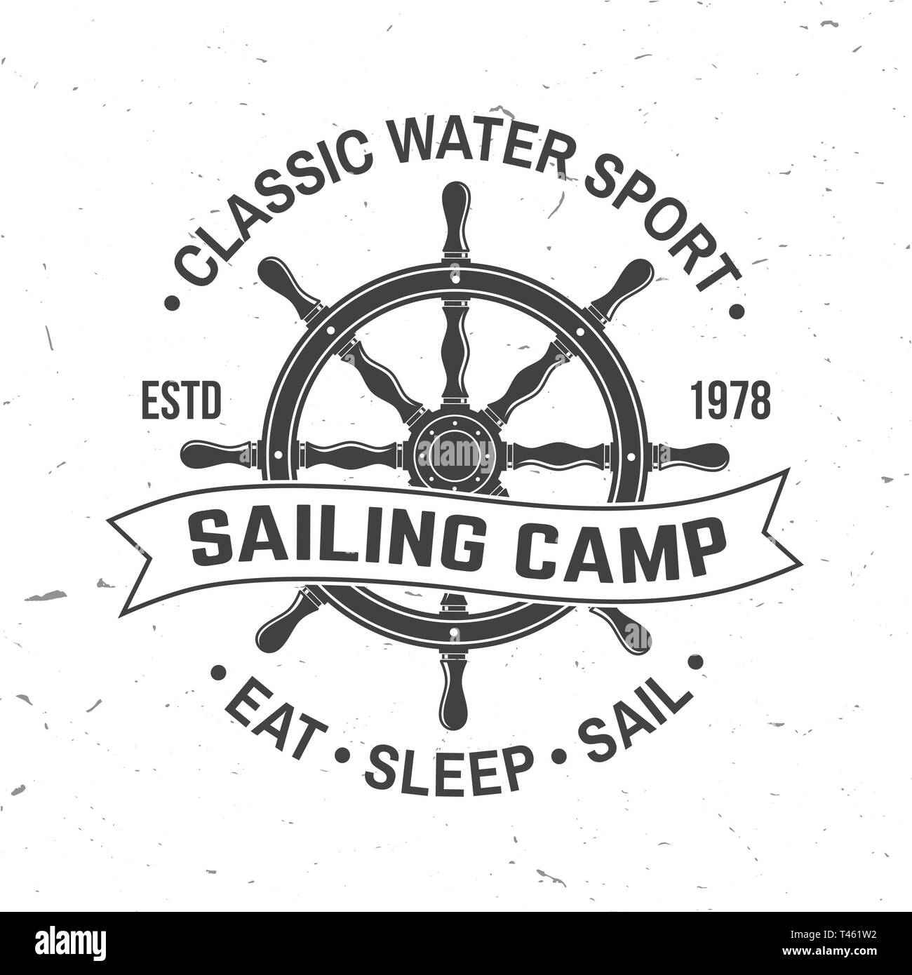 55c1f0398 Concept for shirt, print, stamp or tee. Vintage typography design with black  sea anchor , steering hand wheel ship and rope knot silhouette.