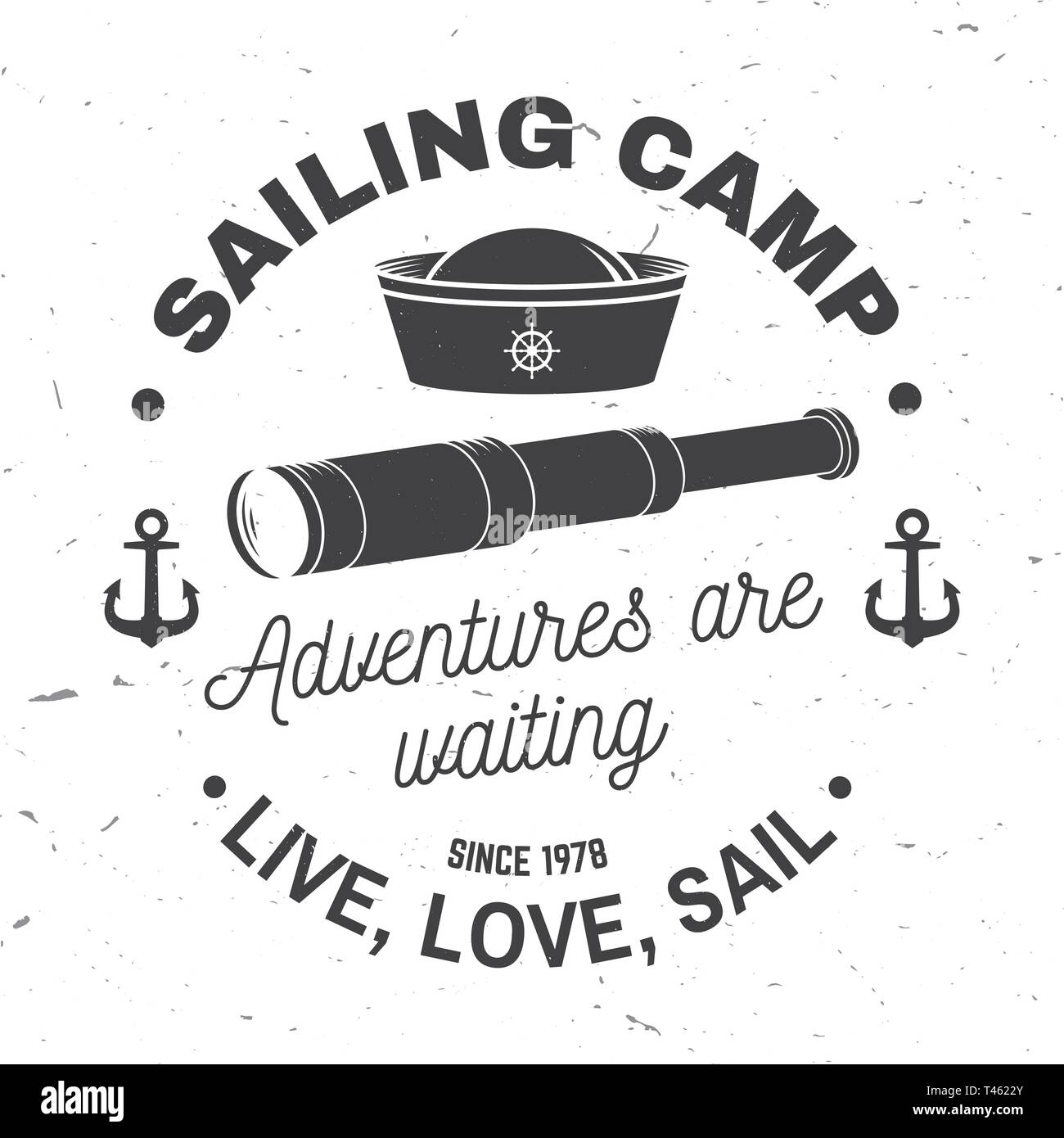209974531774b Summer sailing camp badge. Vector. Concept for shirt