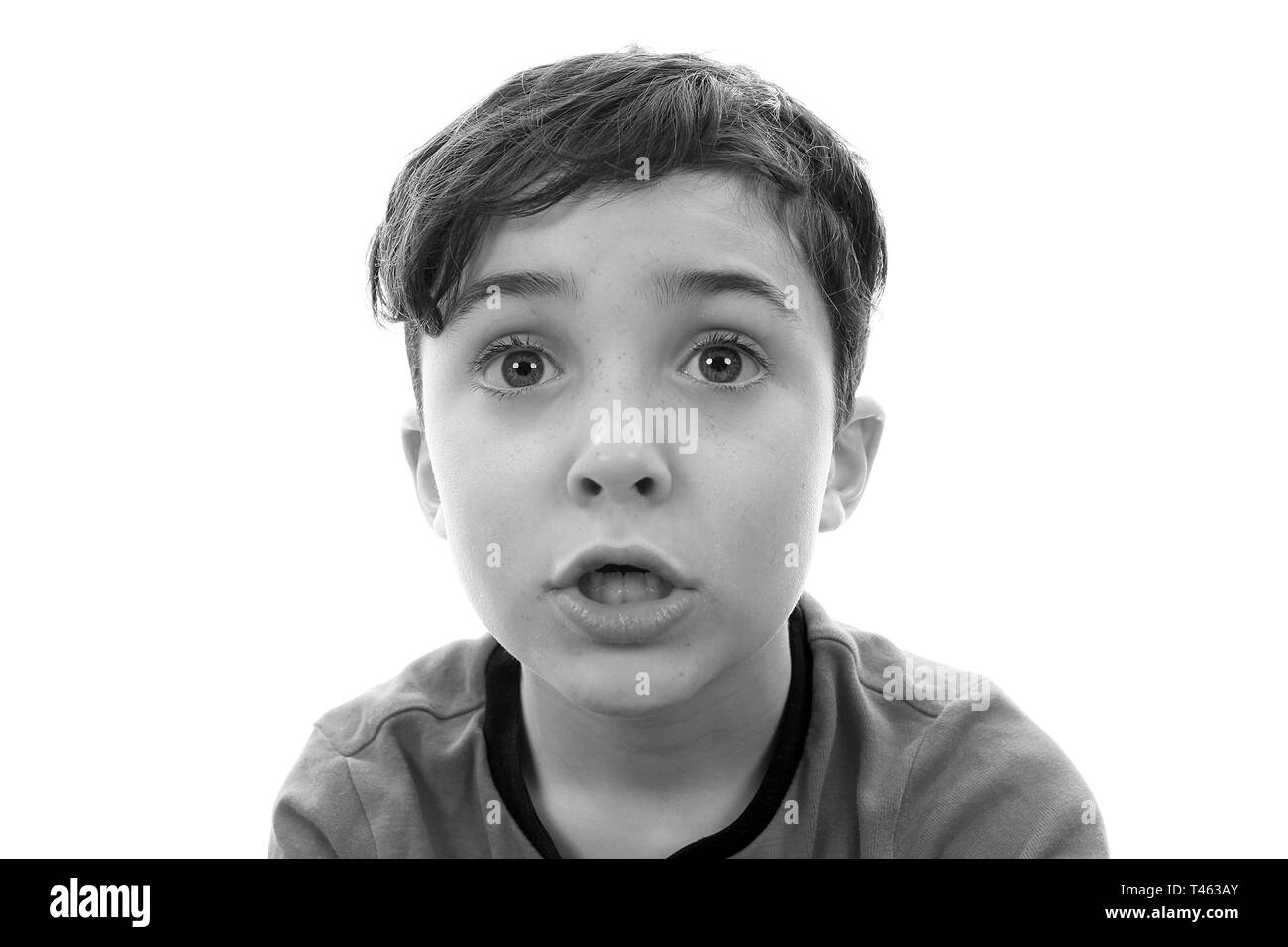 PTSD, boy suffering from shock - Stock Image