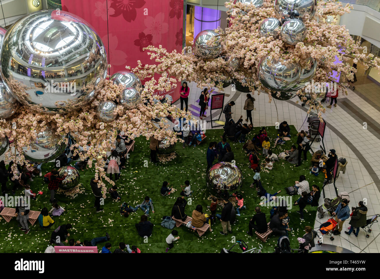 Burnaby, CANADA - March 10, 2019: interior view of Metropolis at Metrotown shopping mall. - Stock Image