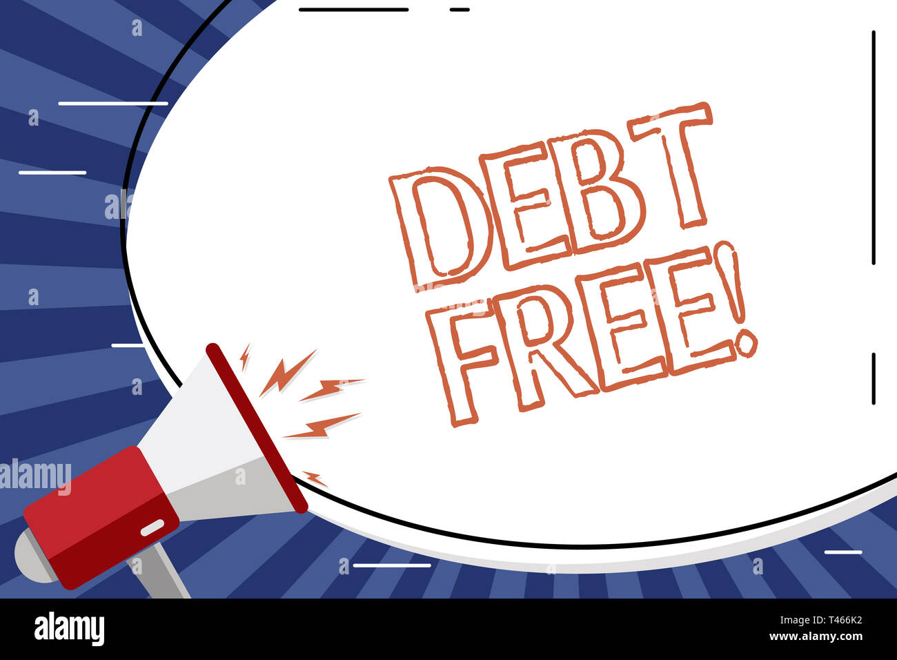 Handwriting text Debt Free  Conceptual photo does not owning