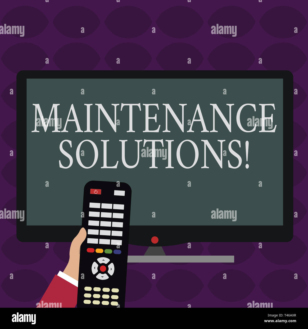 Handwriting text writing Maintenance Solutions. Conceptual photo service provided to keep a product in good condition Hand Holding Computer Remote Con - Stock Image