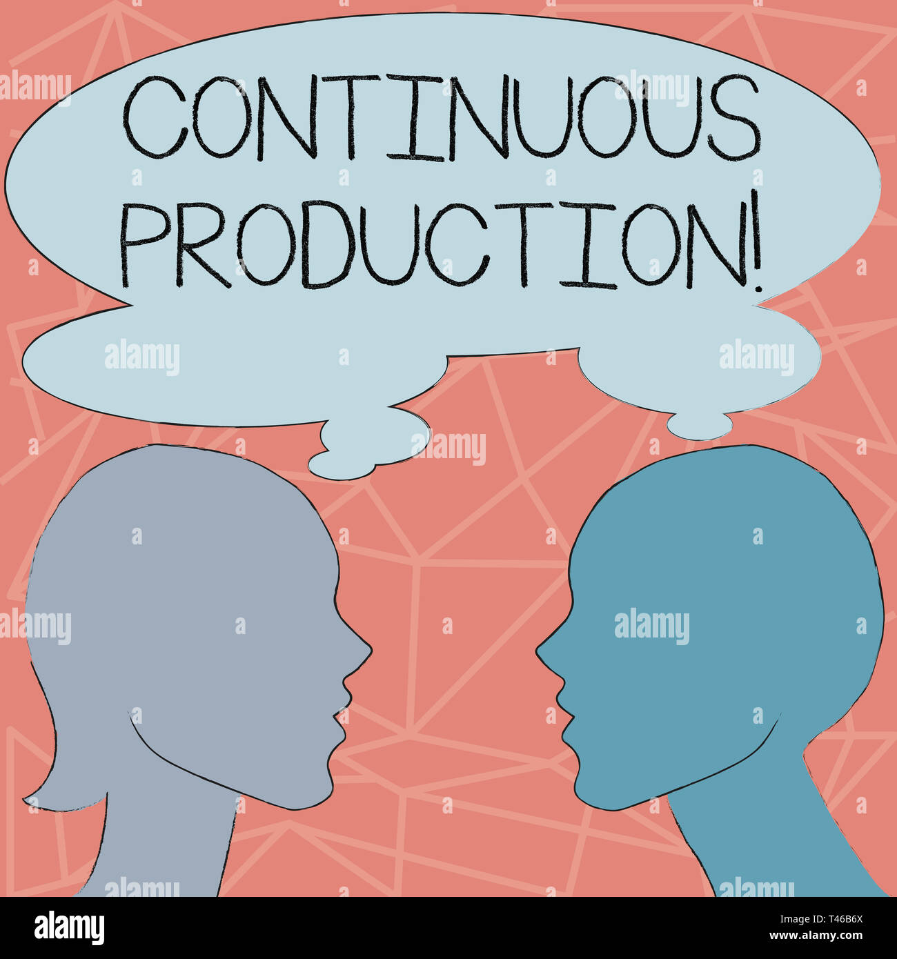 Conceptual hand writing showing Continuous Production. Concept meaning Manufacture or produce materials without interruption Silhouette Sideview Profi - Stock Image