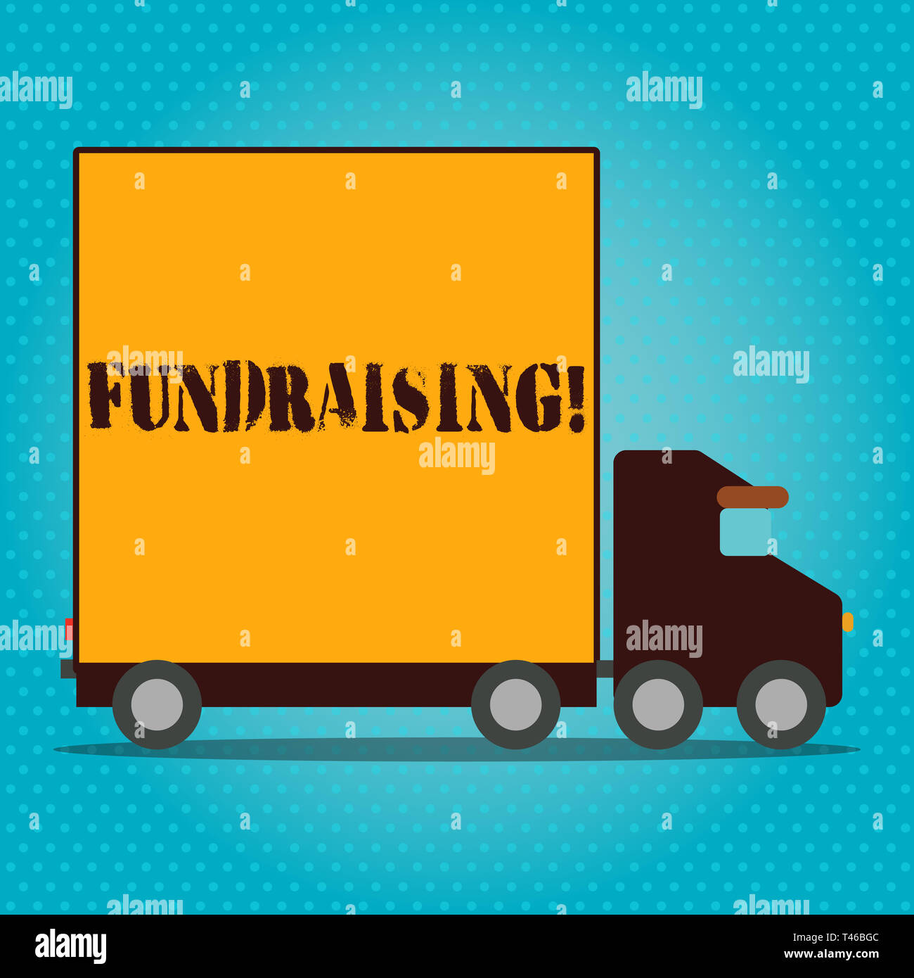 Writing note showing Fundraising. Business concept for seeking to generate financial support for charity or cause Lorry Truck with Covered Back Contai - Stock Image
