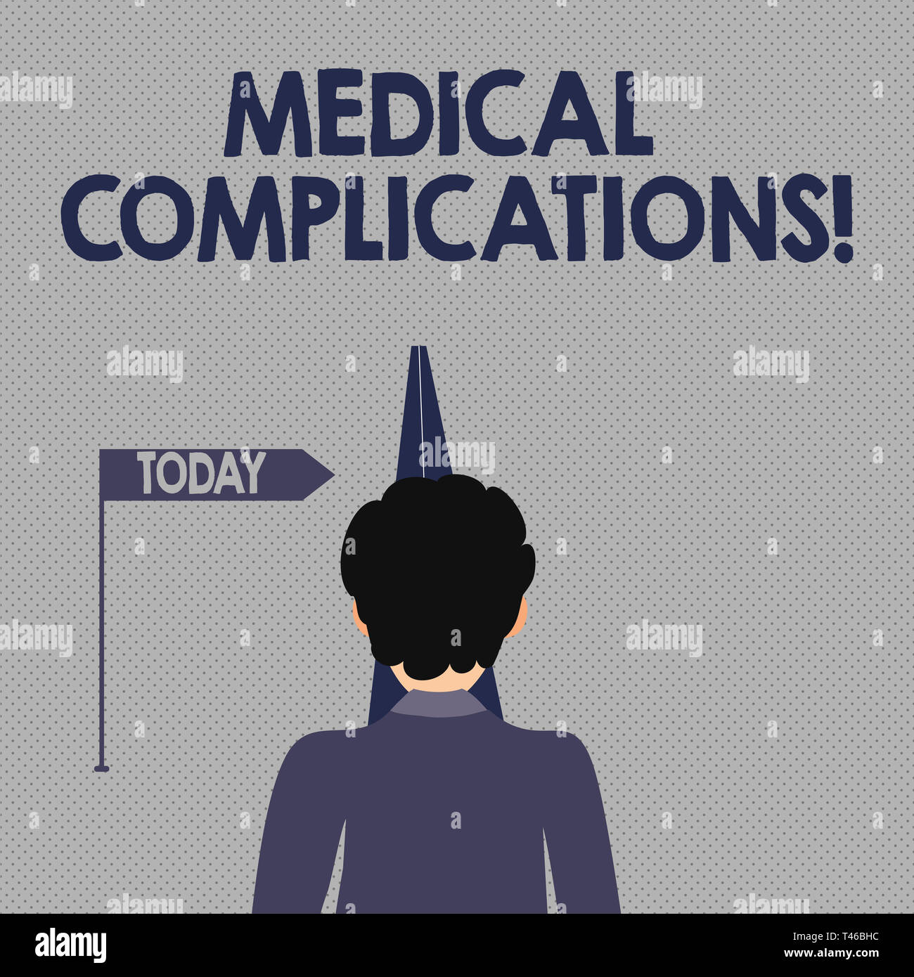 Writing note showing Medical Complications. Business concept for unfavorable evolution or consequence of a disease Man Facing Distance and Blocking th - Stock Image
