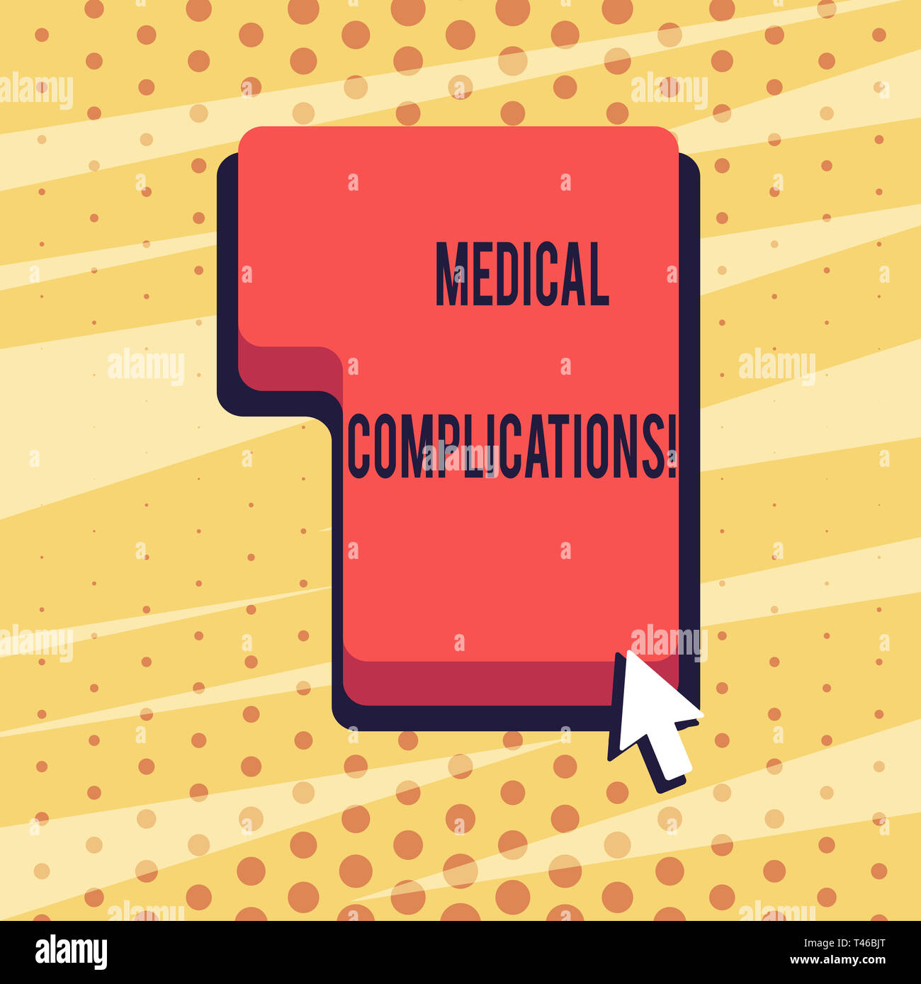 Handwriting text Medical Complications. Conceptual photo unfavorable evolution or consequence of a disease Direction to Press or Click the Red Keyboar - Stock Image