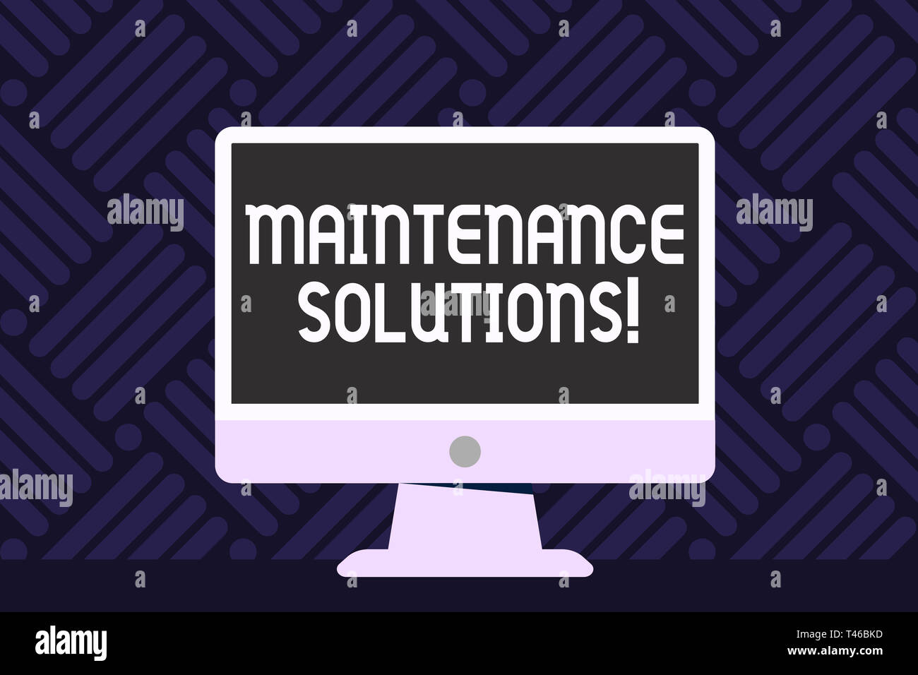 Writing note showing Maintenance Solutions. Business concept for service provided to keep a product in good condition Desktop Computer Colorful Monito - Stock Image