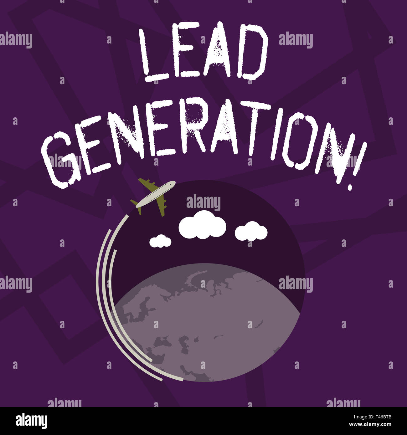 Text sign showing Lead Generation. Business photo showcasing process identifying and cultivating potential customers Airplane with Moving Icon Flying  Stock Photo