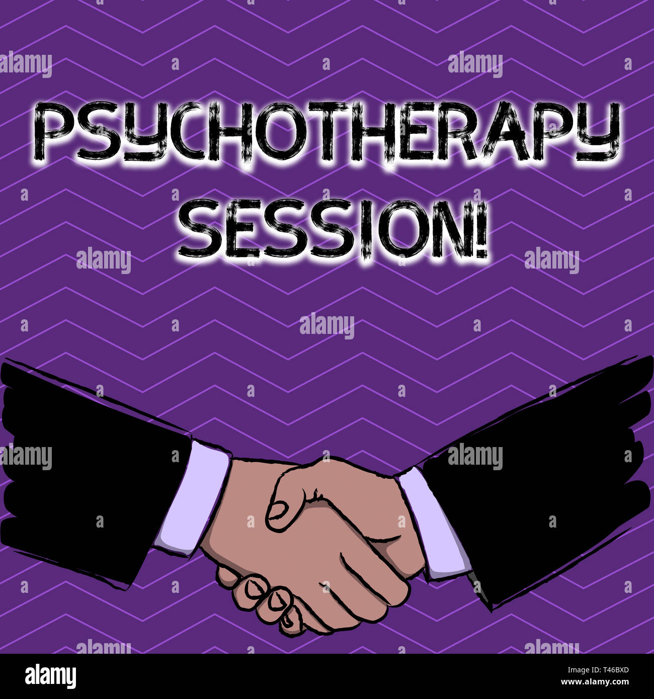 Conceptual hand writing showing Psychotherapy Session