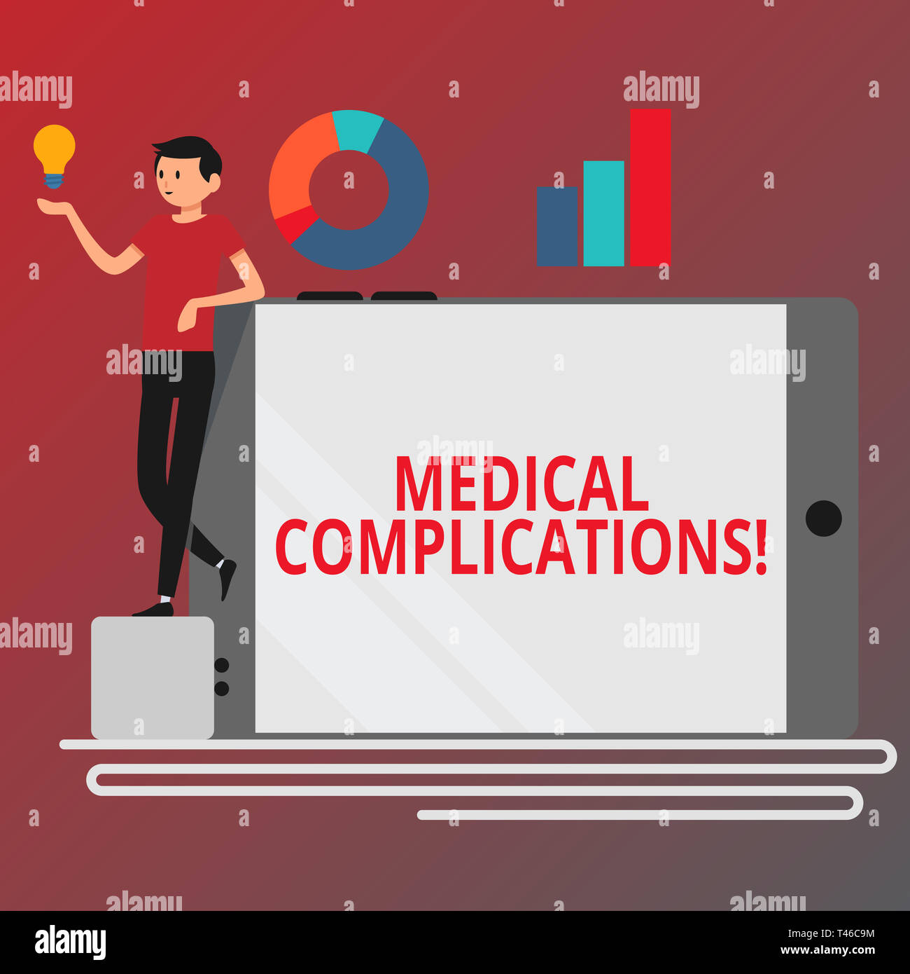 Conceptual hand writing showing Medical Complications. Concept meaning unfavorable evolution or consequence of a disease Man Leaning on Smartphone Tur - Stock Image