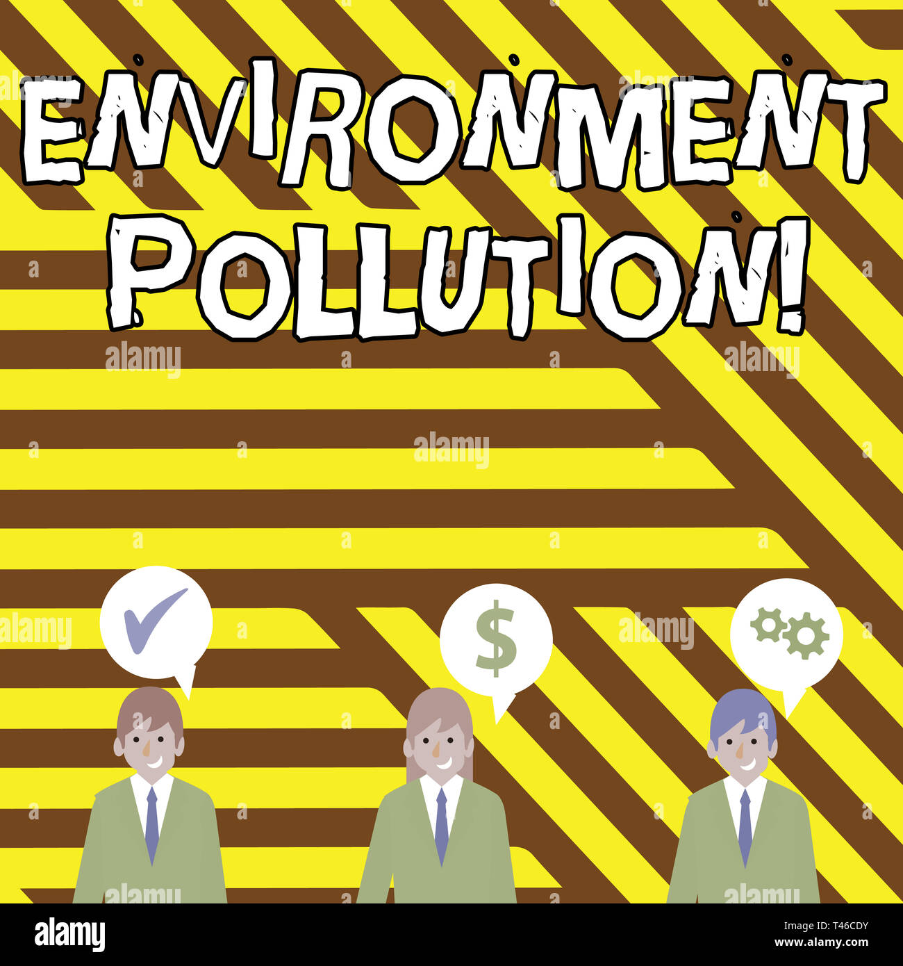 Conceptual hand writing showing Environment Pollution. Concept meaning The contaminants into the natural environment Businessmen has Speech Bubble wit - Stock Image