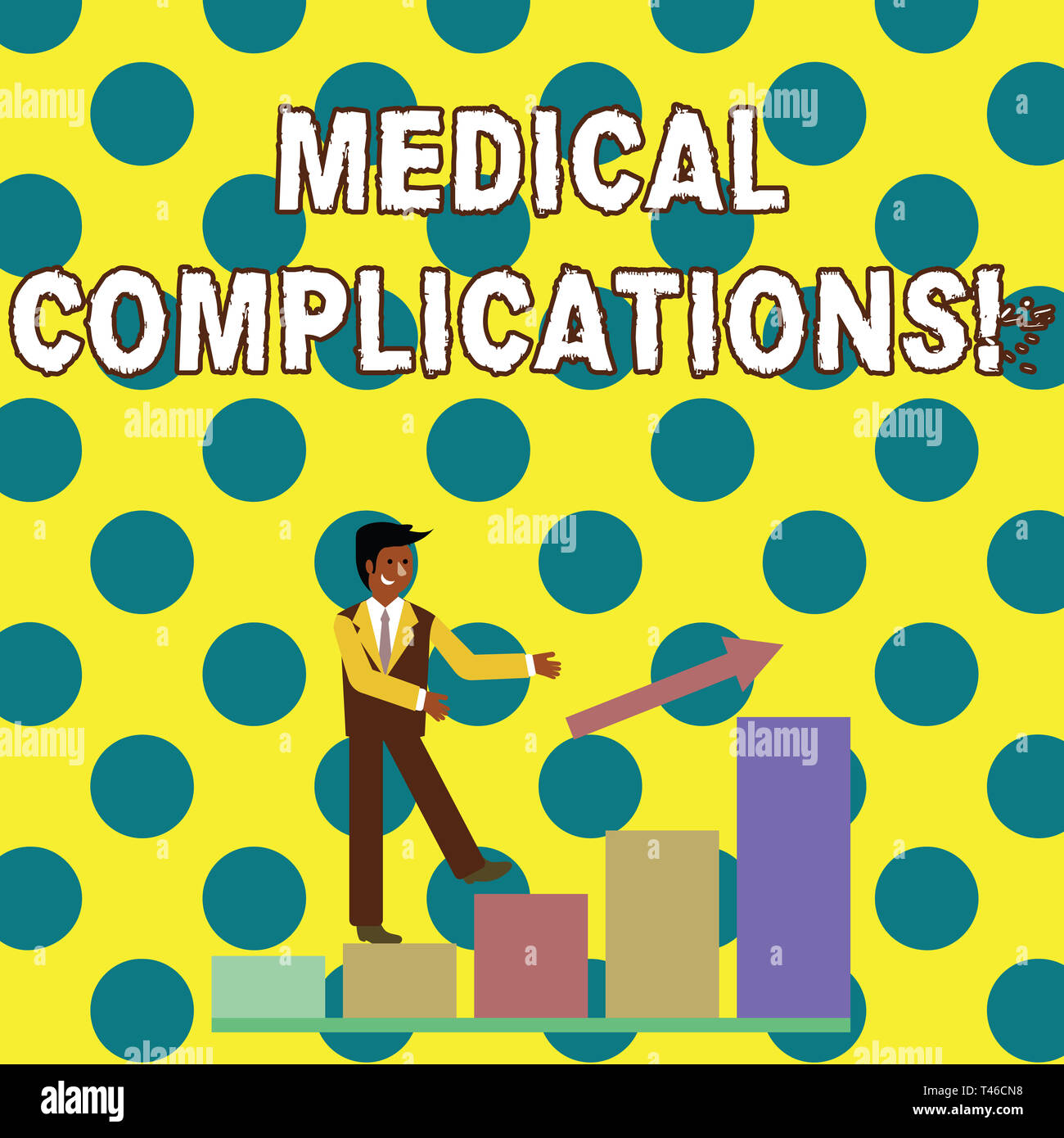 Conceptual hand writing showing Medical Complications. Concept meaning unfavorable evolution or consequence of a disease Smiling Businessman Climbing  - Stock Image