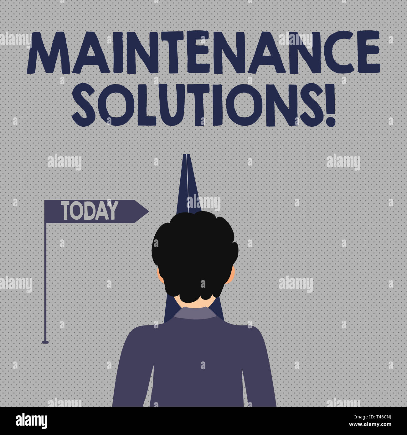 Writing note showing Maintenance Solutions. Business concept for service provided to keep a product in good condition Man Facing Distance and Blocking - Stock Image
