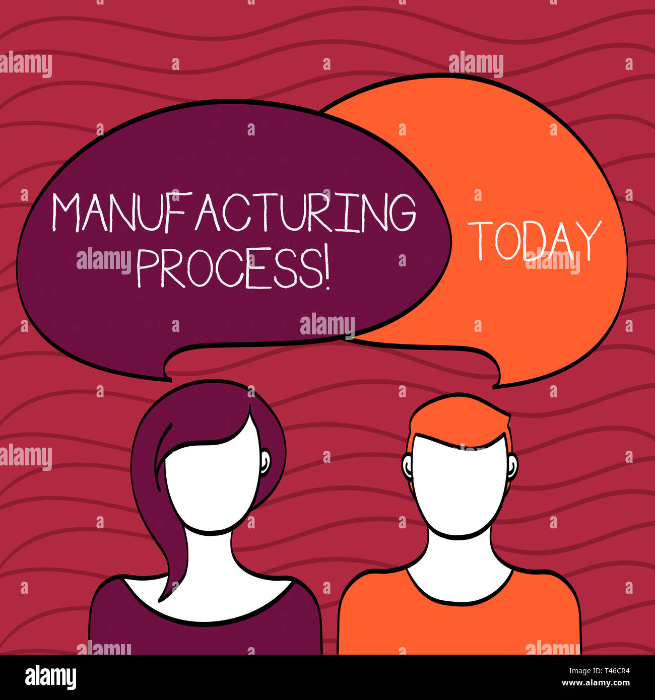 Handwriting text Manufacturing Process. Conceptual photo steps which raw materials changed into a final product Blank Faces of Male and Female with Co - Stock Image