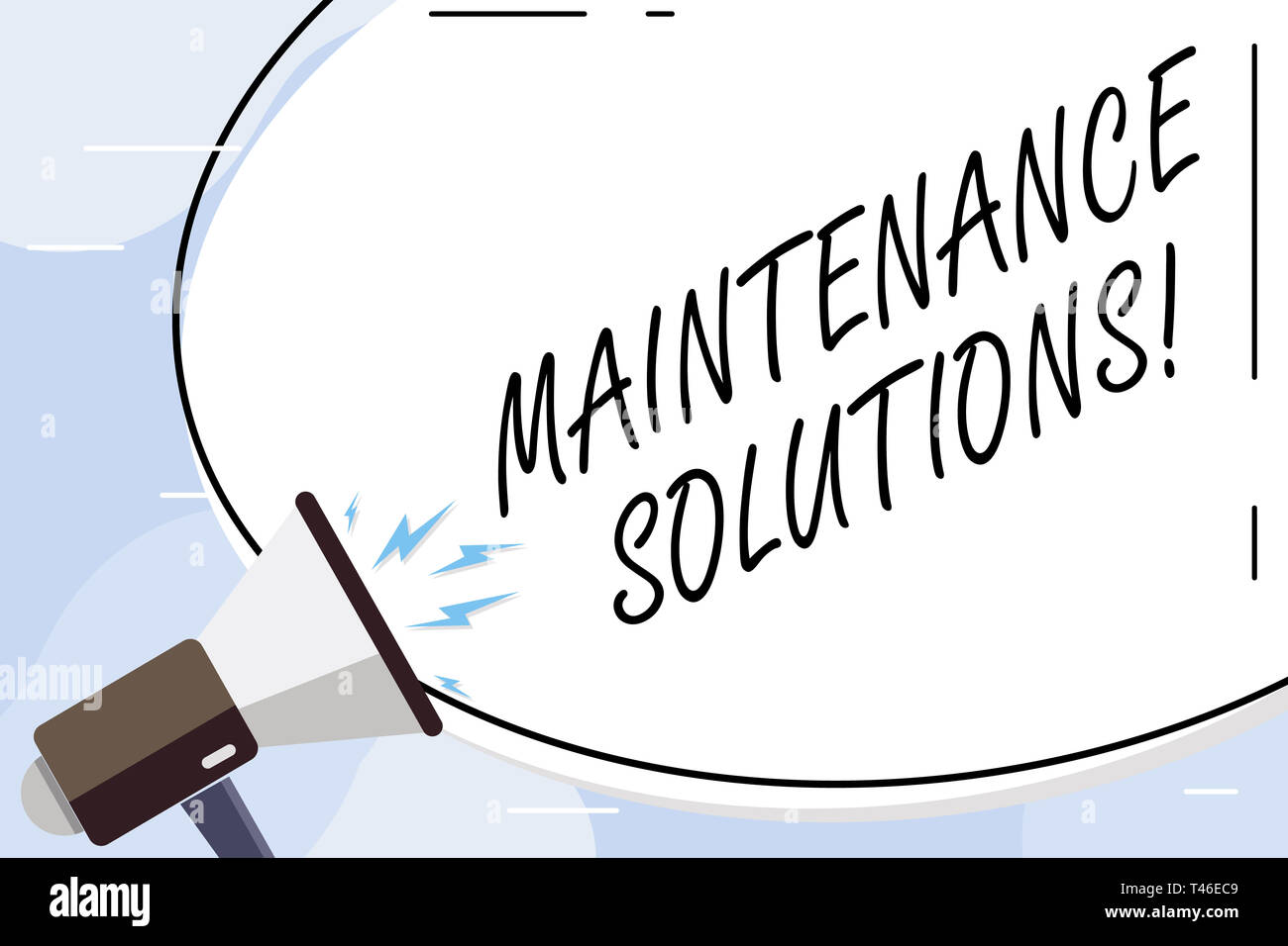 Conceptual hand writing showing Maintenance Solutions. Concept meaning service provided to keep a product in good condition Blank White Huge Oval Shap - Stock Image