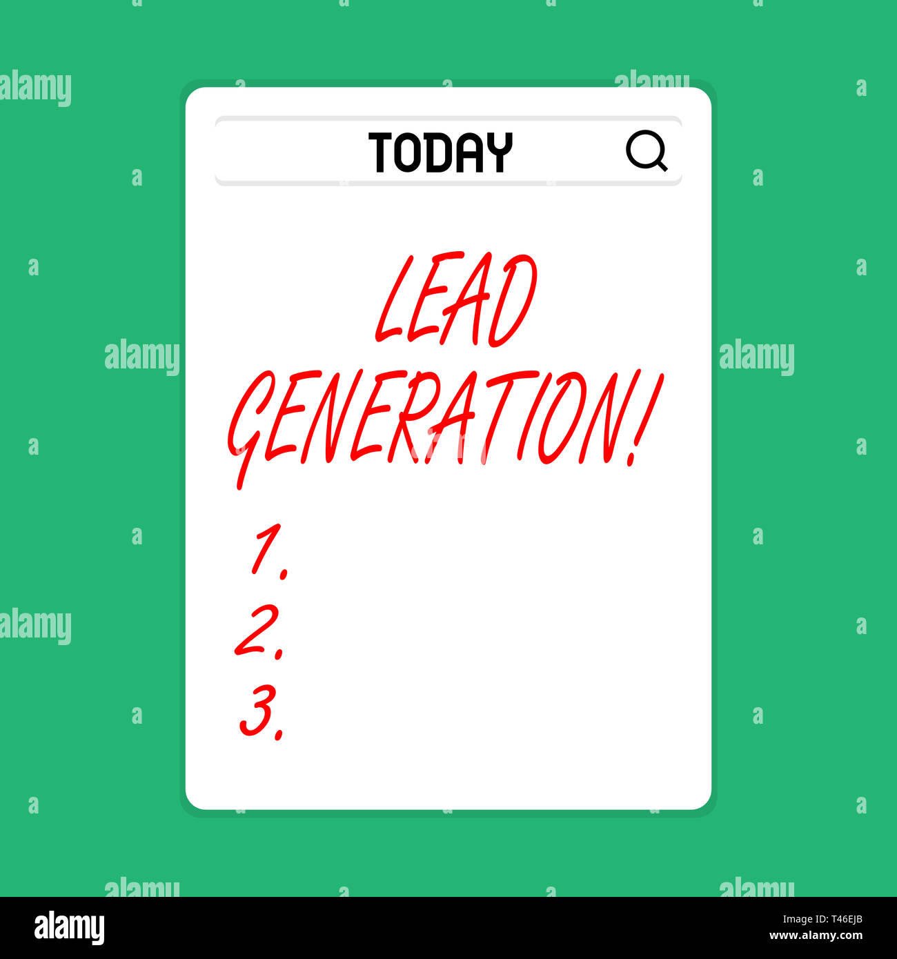 Handwriting text Lead Generation. Conceptual photo process identifying and cultivating potential customers Search Bar with Magnifying Glass Icon photo - Stock Image