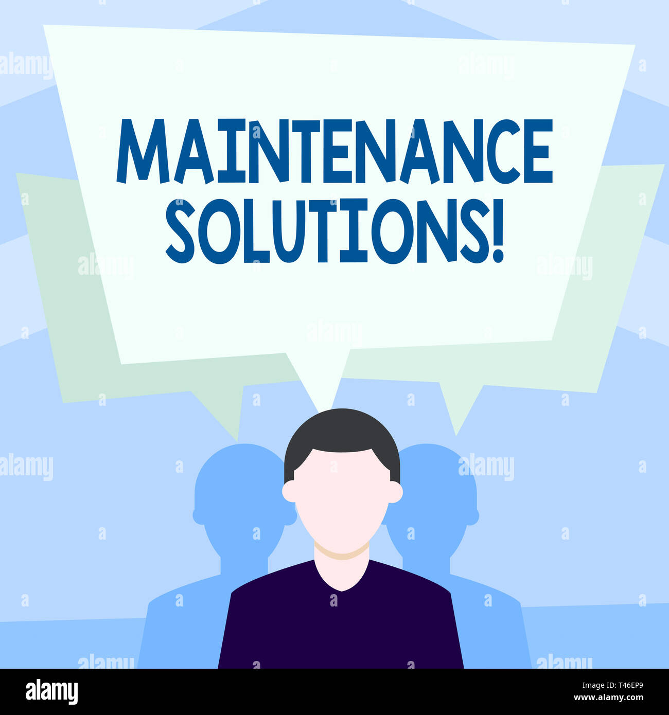 Writing note showing Maintenance Solutions. Business concept for service provided to keep a product in good condition Faceless Man has Two Shadows wit - Stock Image