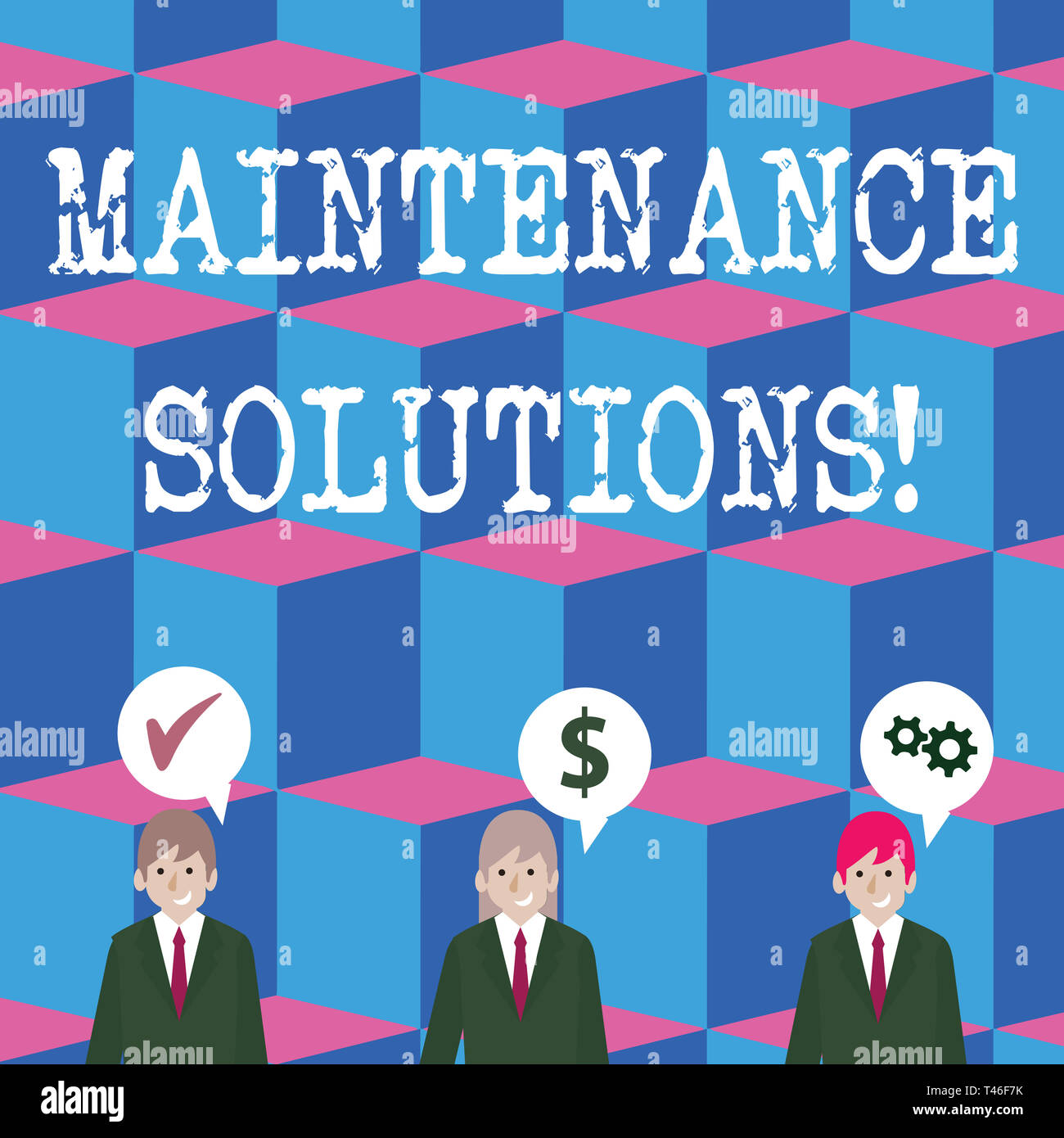 Writing note showing Maintenance Solutions. Business concept for service provided to keep a product in good condition Businessmen has Speech Bubble wi - Stock Image