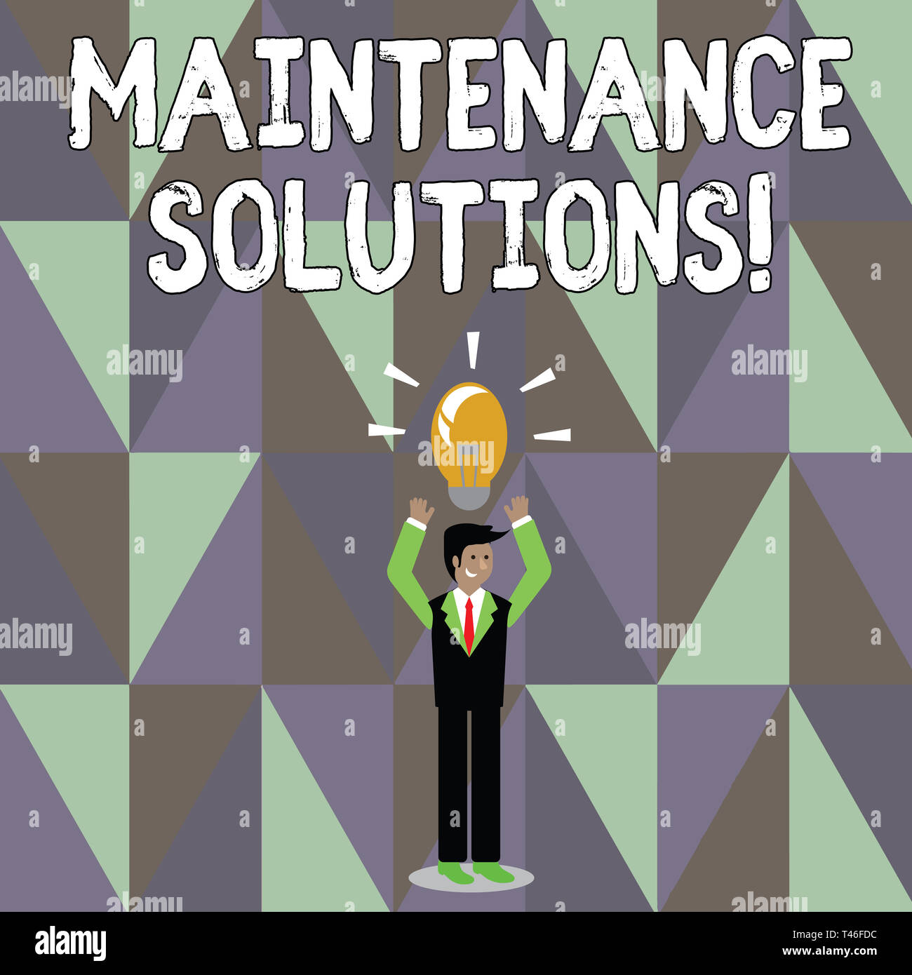Word writing text Maintenance Solutions. Business photo showcasing service provided to keep a product in good condition Businessman Standing Raising A - Stock Image