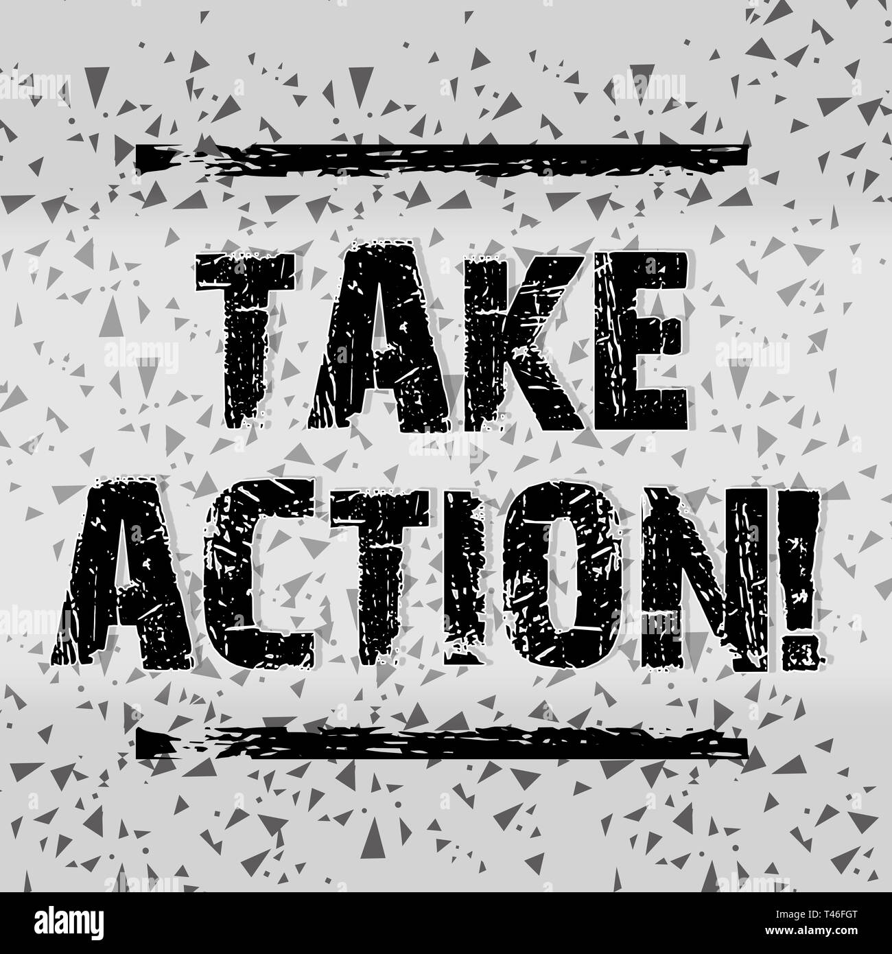 Handwriting text writing Take Action. Conceptual photo do something official or concerted to achieve aim with problem Seamless Gray Confetti or Tiny P - Stock Image