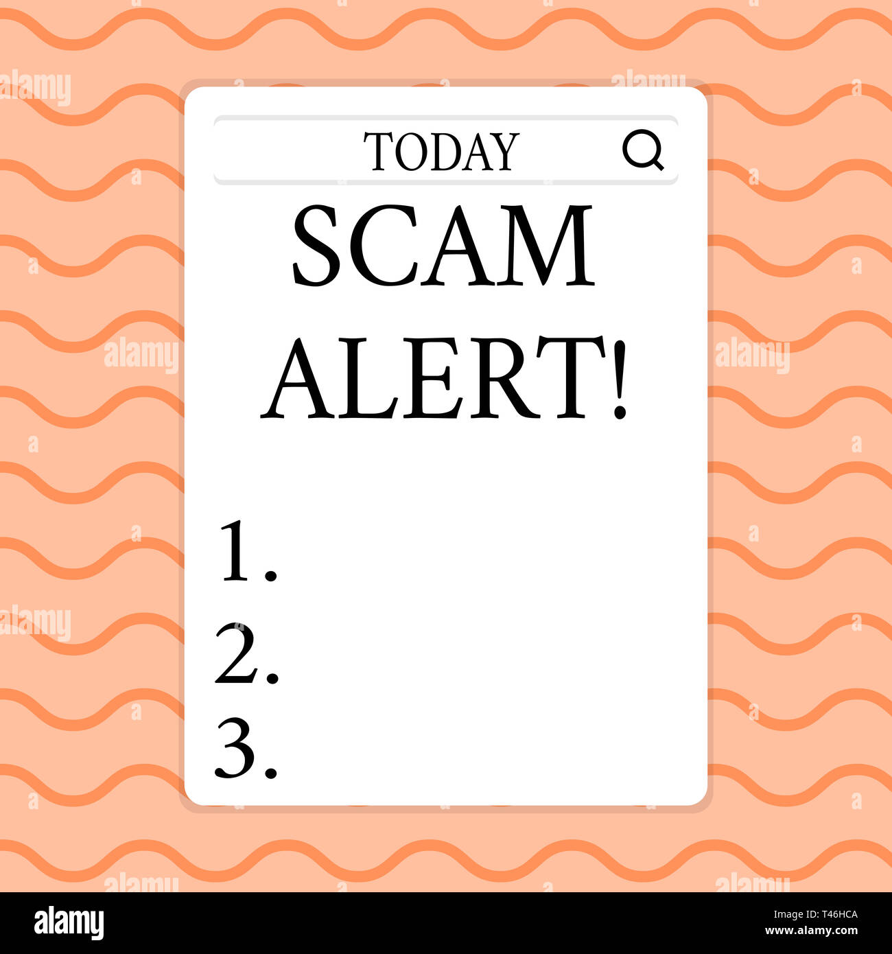 Writing note showing Scam Alert. Business concept for fraudulently obtain money from victim by persuading him Search Bar with Magnifying Glass Icon ph - Stock Image