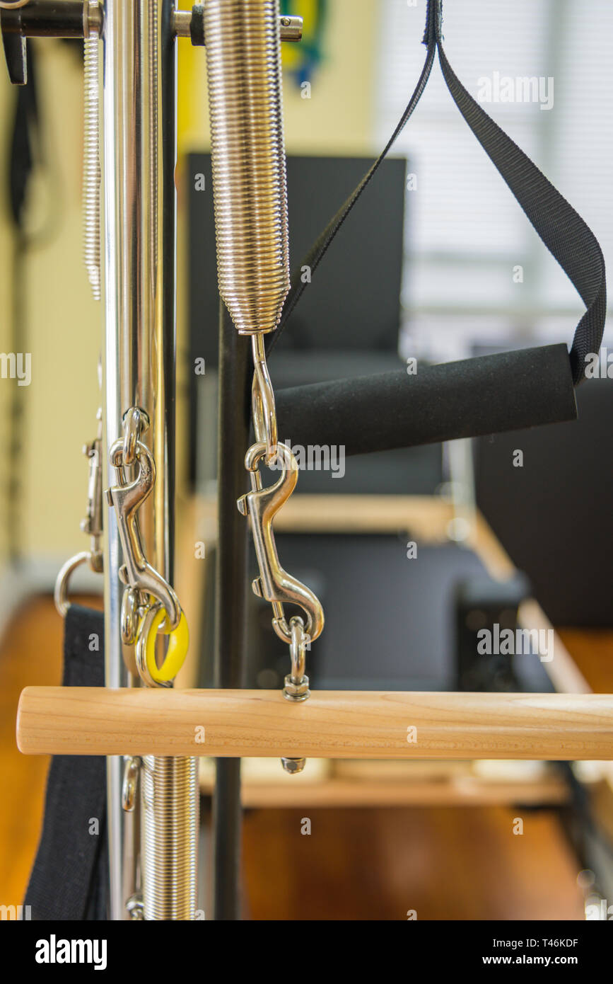 Close up of Pilates reformer - Stock Image
