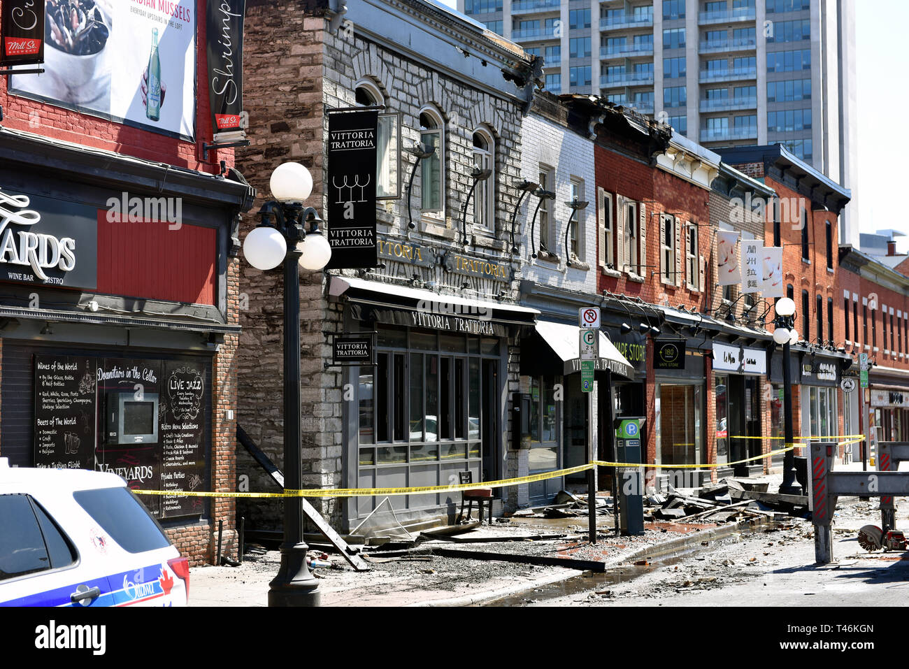 Ottawa, Canada - April 13, 2019: William Street in the Byward Market still closed after Vittoria Trattoria caught on fire and spread to other heritage - Stock Image