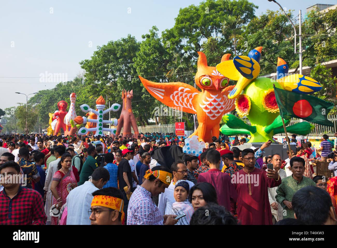 Mongol Shobhajatra of Bengali New Year 1426 - Stock Image