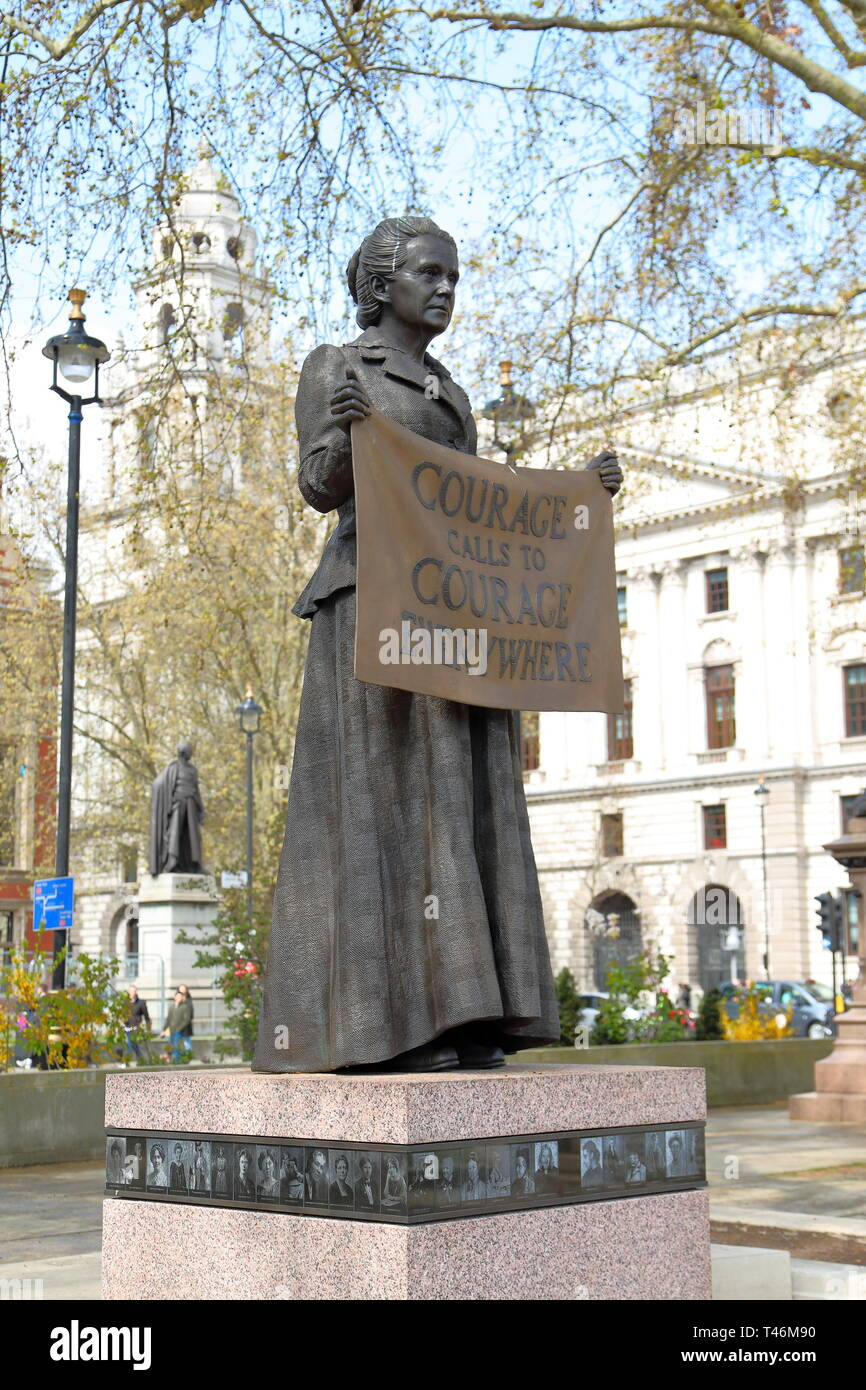 Statue of Suffragist Millicent Fawcett in Parliament Square, City of Westminster, London, UK - Stock Image