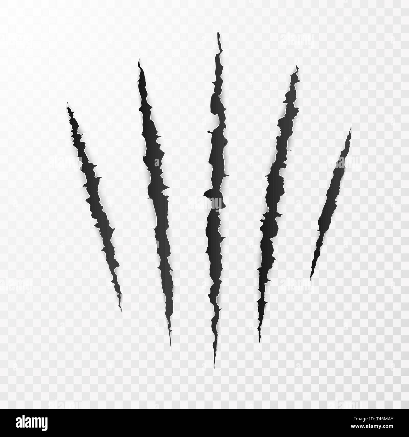 Monster Claws. Claw scratch mark. Animal scratch isolated on transparent background. Shred paper. Vector illustration - Stock Image